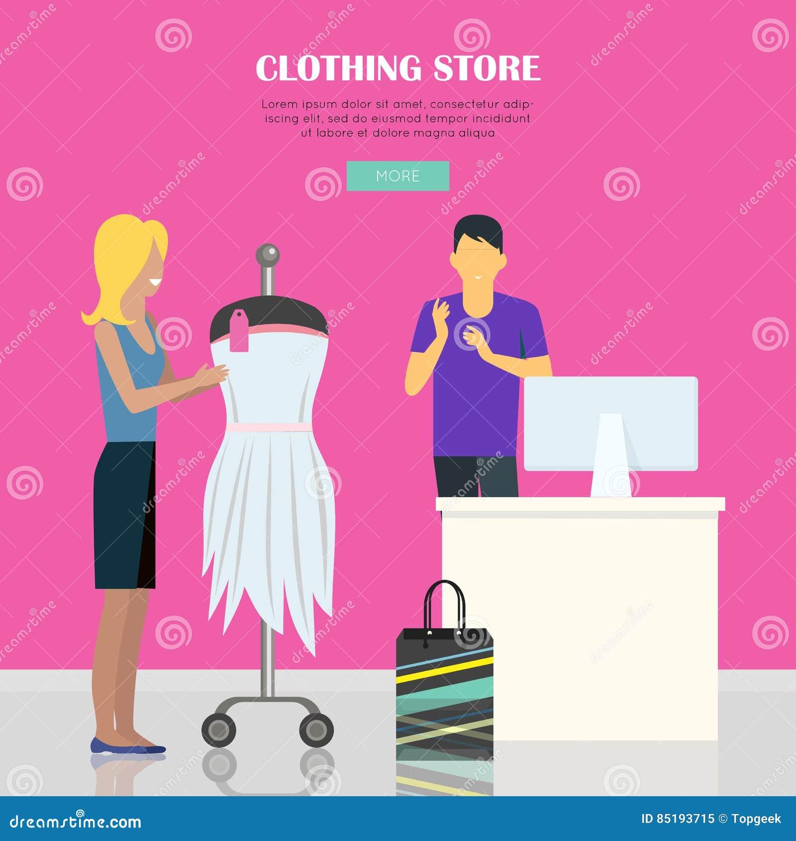 354e8cb1d9837 Ilustração da loja de roupa A mulher faz suas compras na loja da roupa  Ilustração fêmea da loja de roupa Homem atrás do contador da loja Povos que  compram, ...
