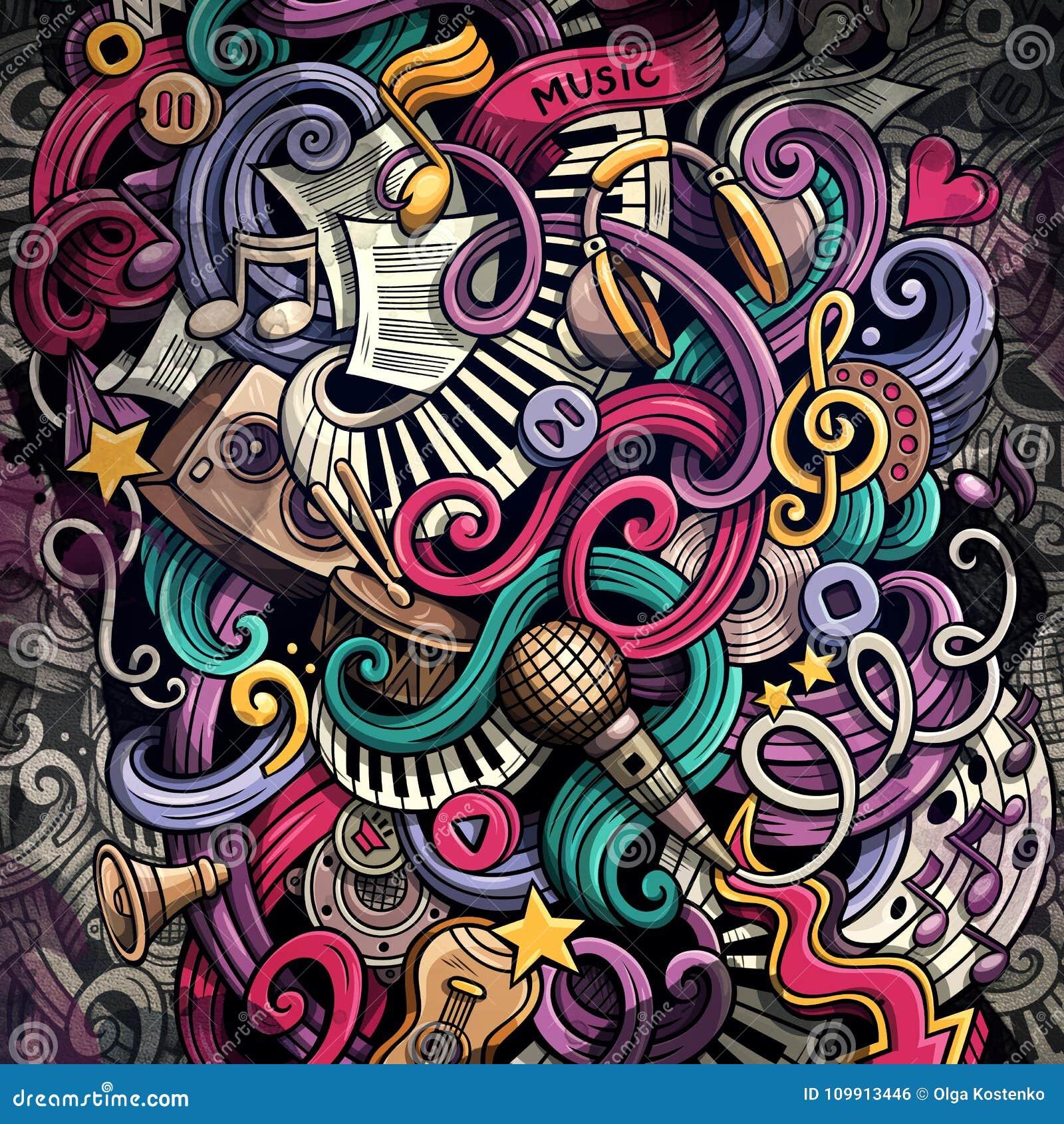 Ilustração da música das garatujas Fundo musical creativo