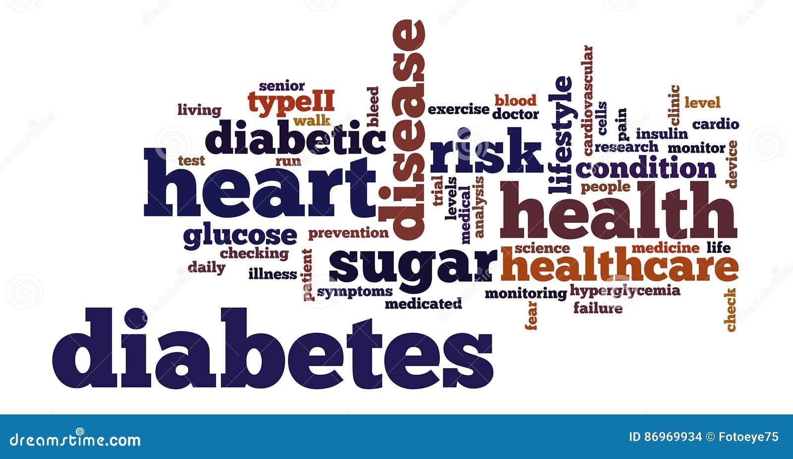 Ilustração da nuvem da etiqueta da palavra do diabetes