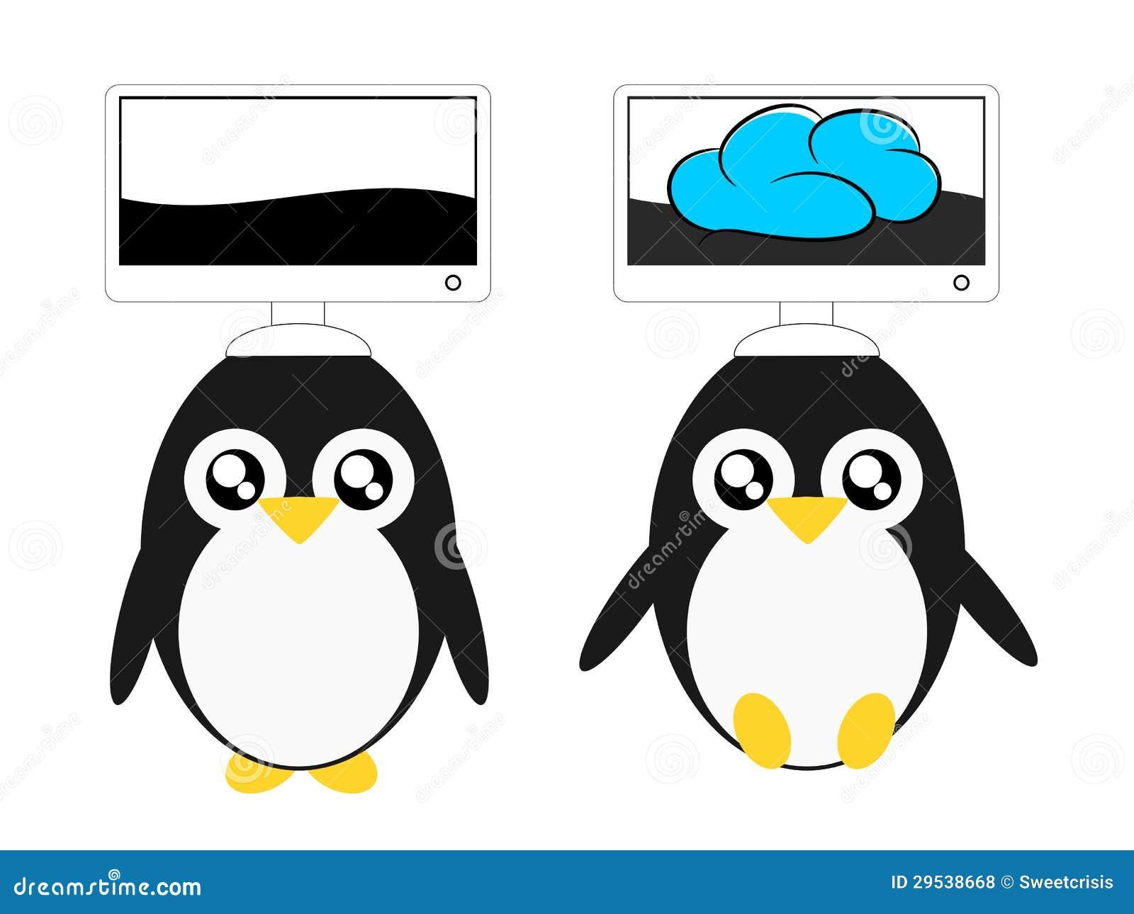 Ilustração da nuvem do pinguim e do computador dos desenhos animados