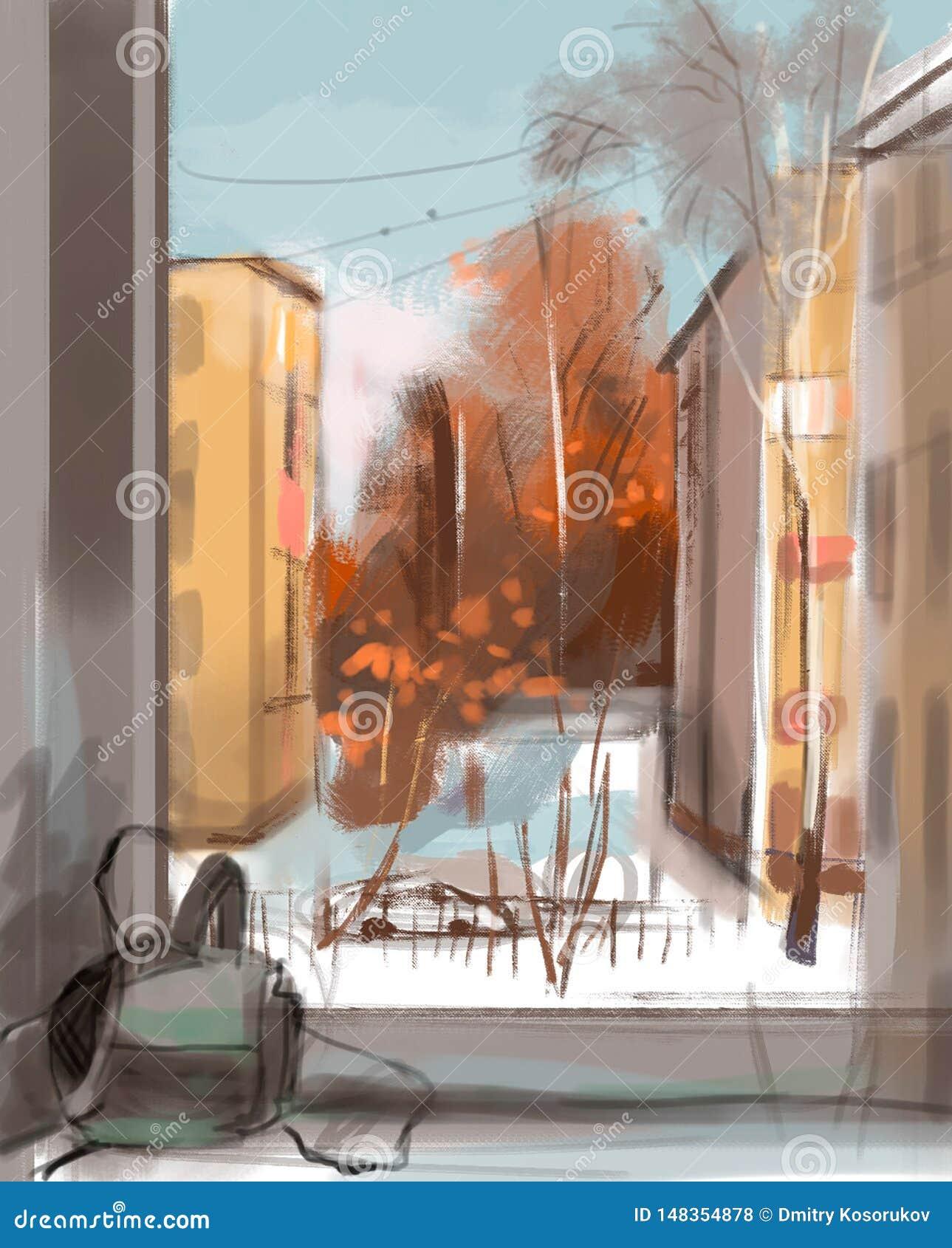 Ilustração da opinião da cidade da janela