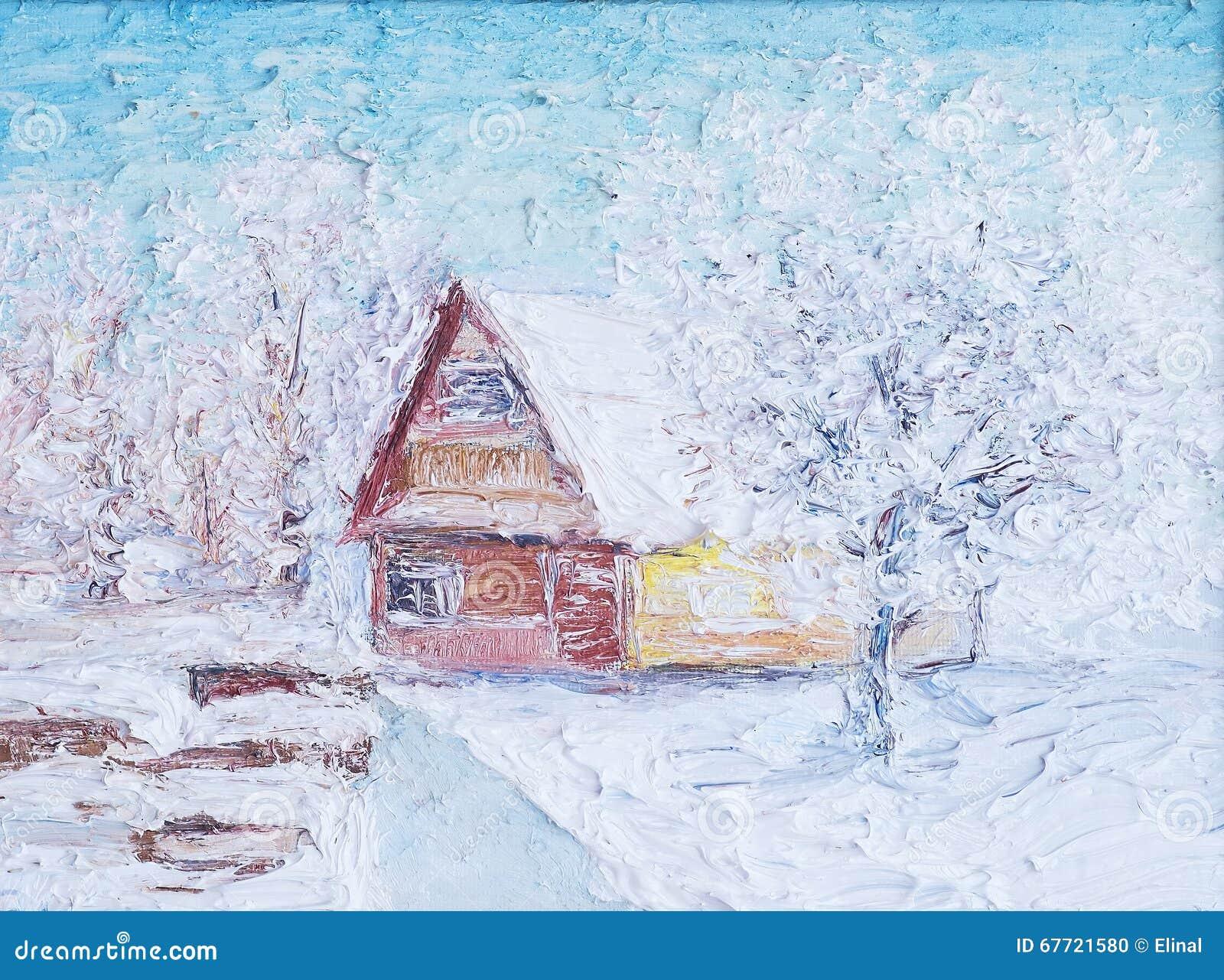 Ilustração da paisagem do inverno com casa Pintura, óleo e lona