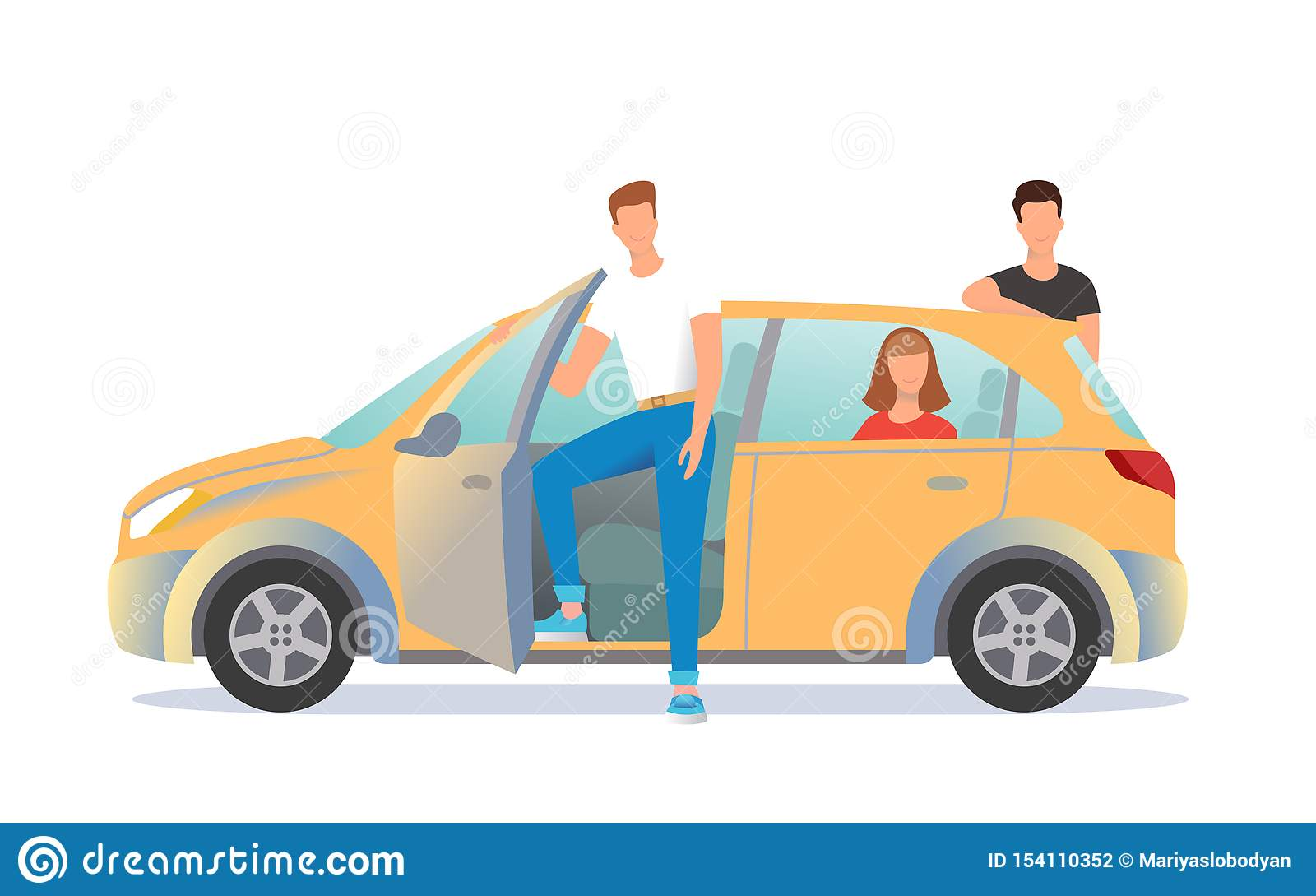 Ilustração da partilha de carro Os jovens estão prontos para afastar