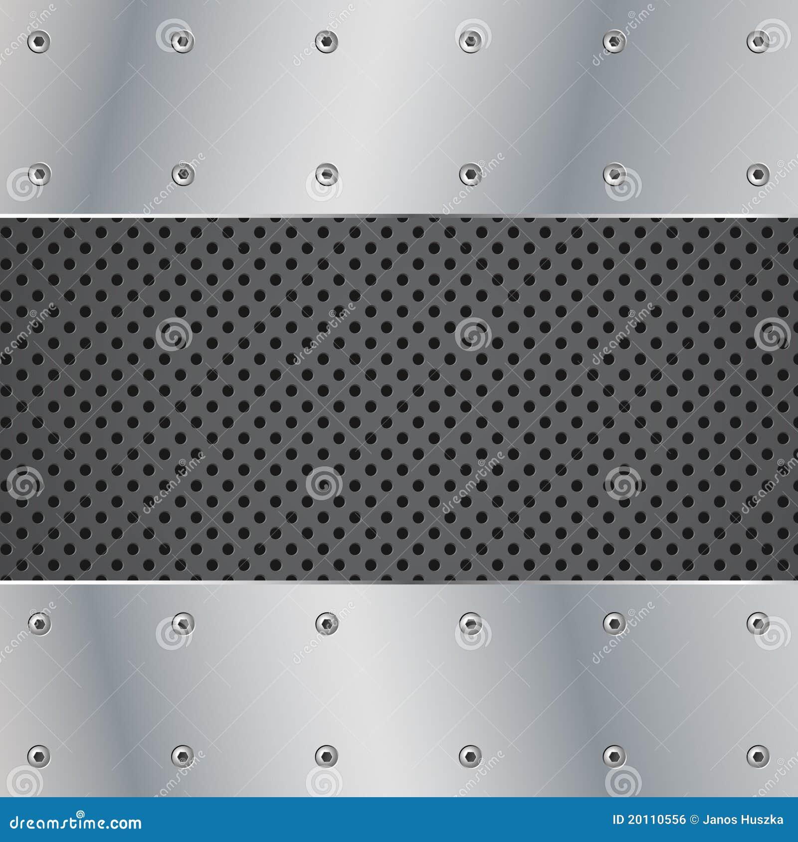 Ilustração da placa e do parafuso de metal