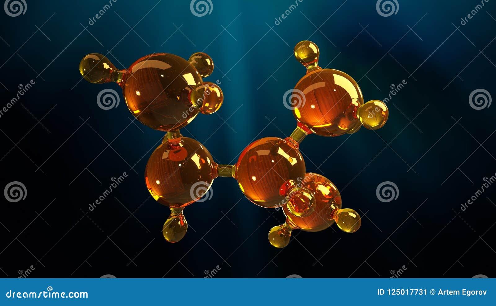 Ilustração da rendição 3d do modelo de vidro da molécula Molécula do óleo Conceito do óleo ou do gás de motor do modelo de estrut