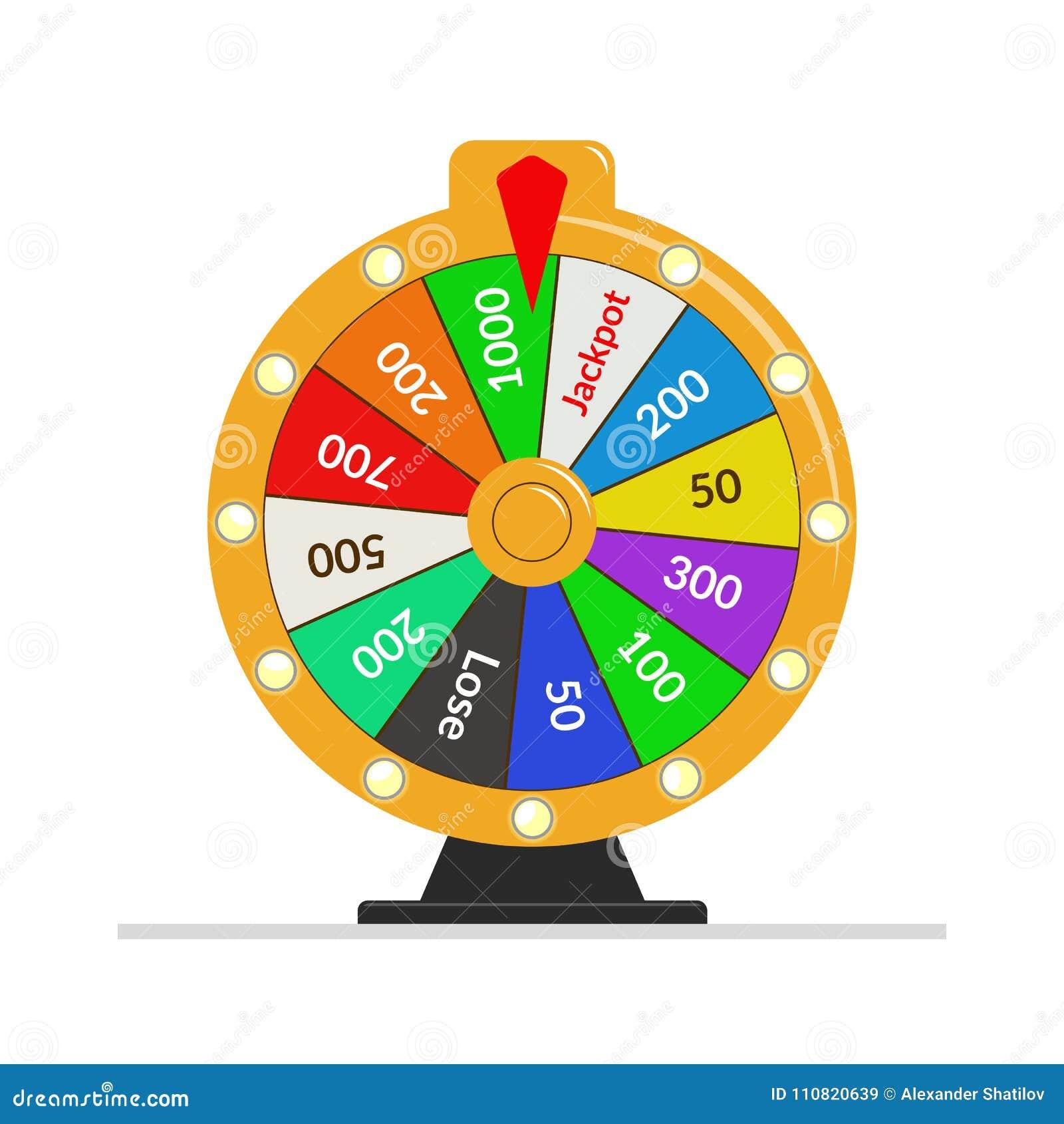 Ilustração da sorte da loteria da roda da fortuna Jogo de azar do casino Roleta da fortuna da vitória Ilustração lisa do vetor
