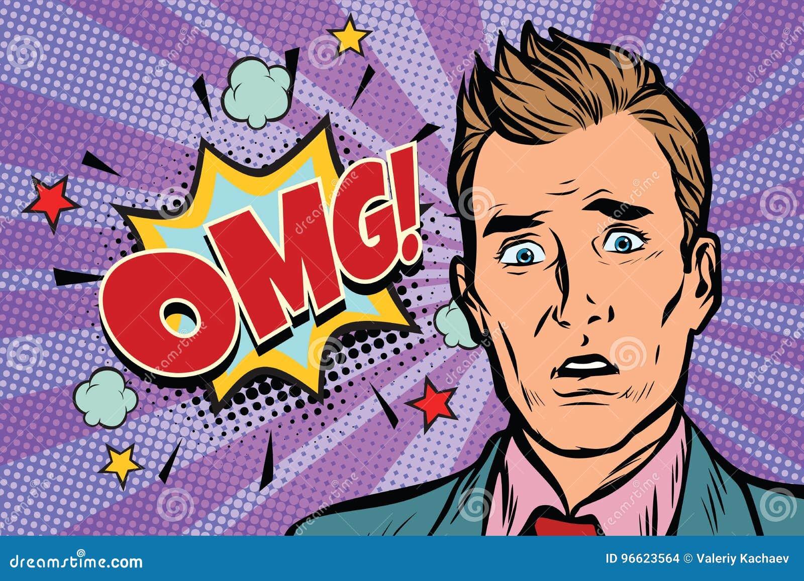 Ilustração da surpresa do homem do pop art de Omg