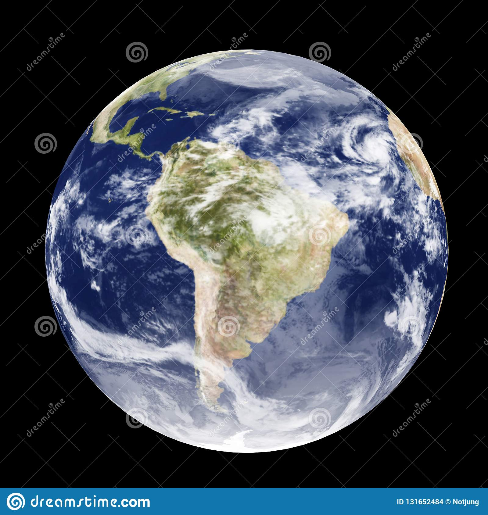 Ilustração da terra 3D do globo do espaço dia e noite isolado no fundo preto