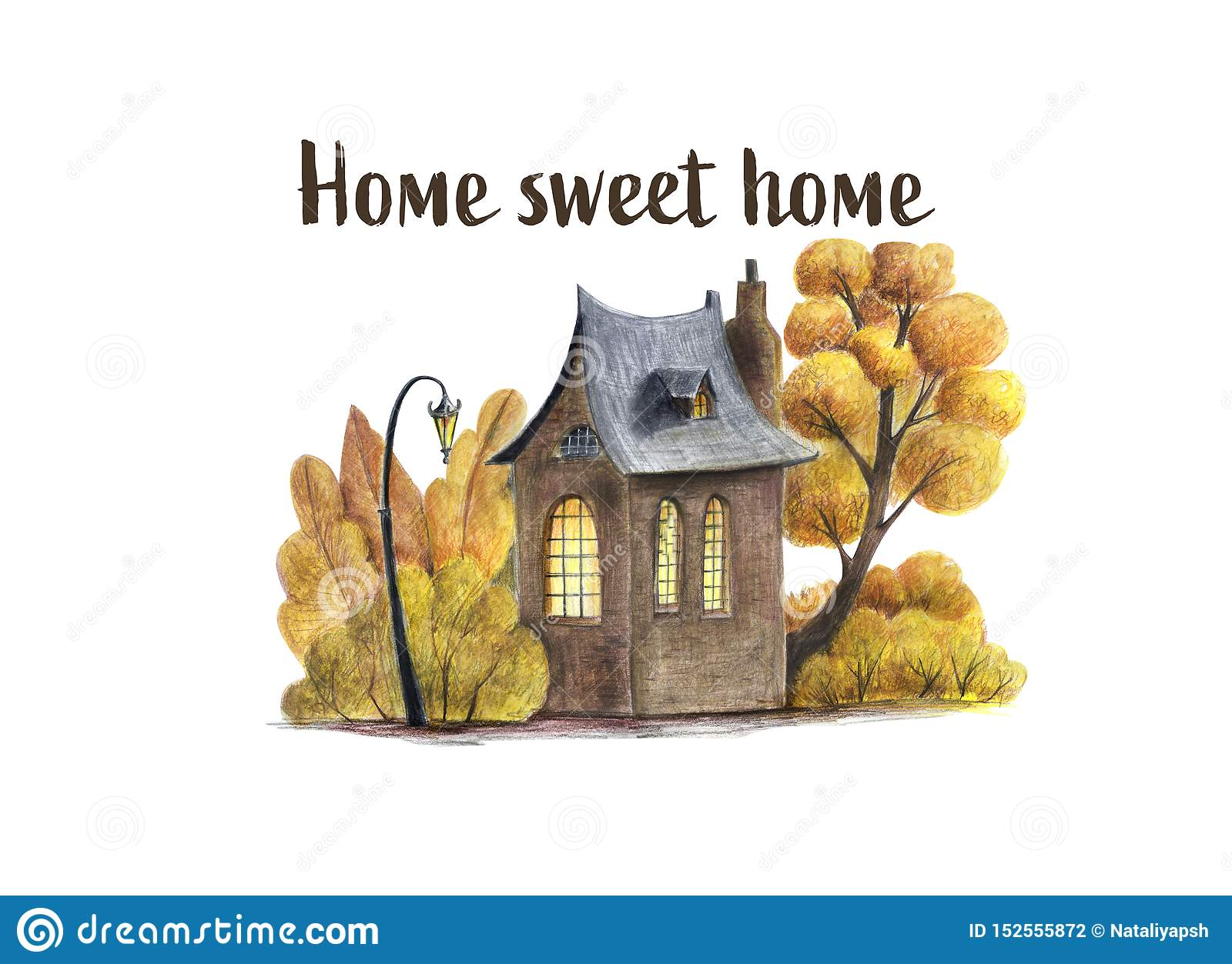 Ilustração das casas e dos ltrees de um outono