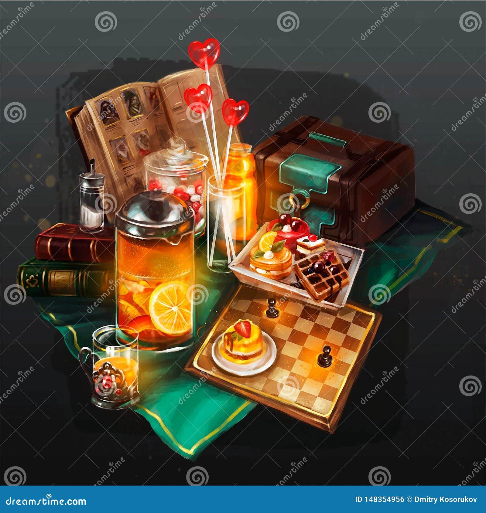 Ilustração das coisas a descansar na tabela