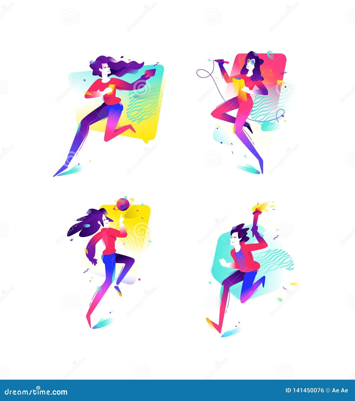 Ilustração das meninas e dos meninos Negócios e partidas da geração mais nova Ilustração lisa do inclinação do vetor Imagem para