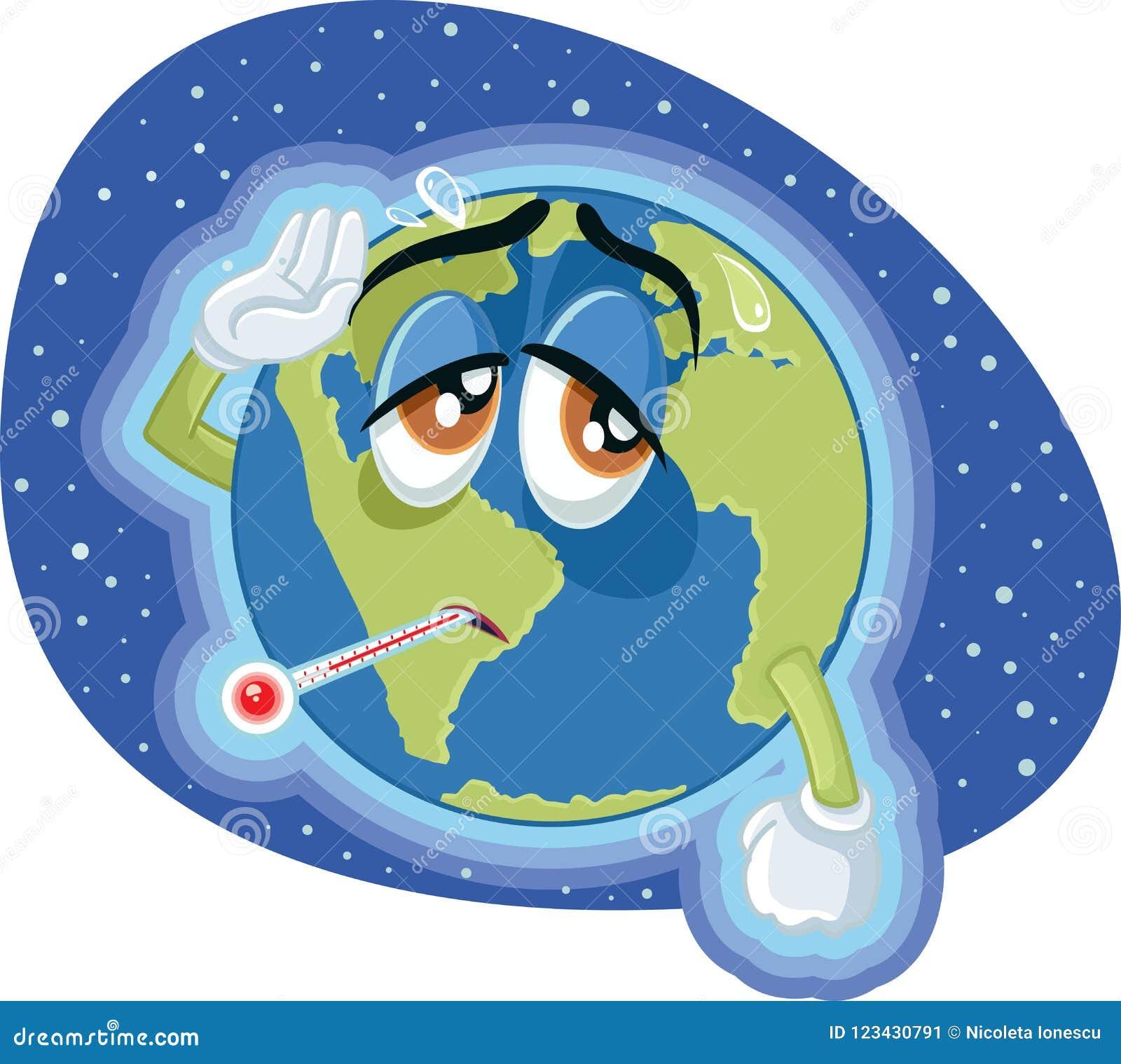 Ilustração de alta temperatura do conceito da terra do aquecimento global