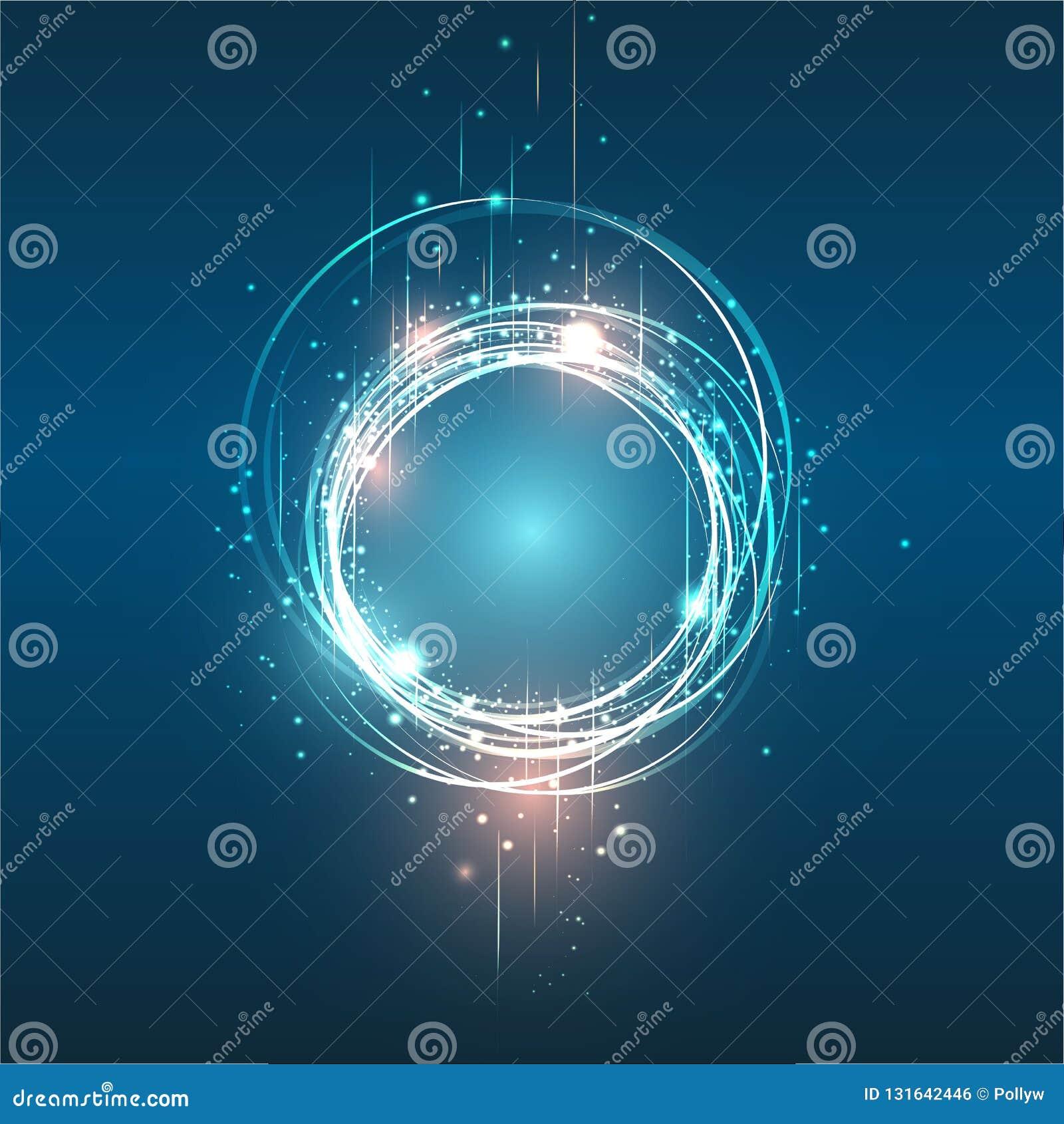 Ilustração de brilho da bandeira do círculo do quadro redondo do vetor para a Web e a cópia, fundo brilhante, laranja roxa do cír