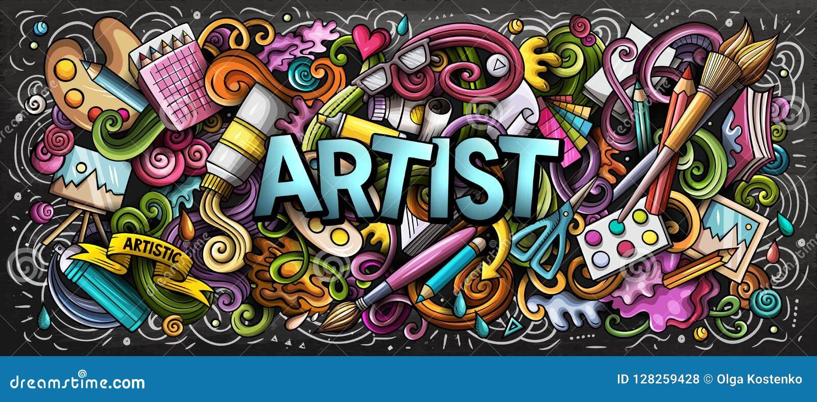 Ilustração de cor da fonte do artista Garatujas das artes visuais Fundo da arte da pintura e do desenho