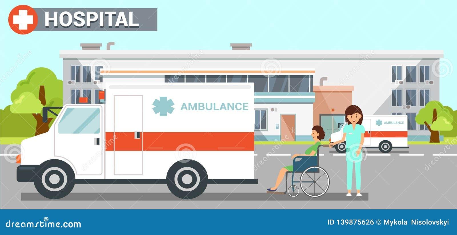 Ilustração de cor lisa do vetor da ambulância do hospital