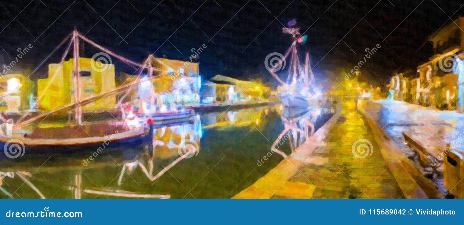 Ilustração de decorações, de luzes e de Marine Crib do Natal