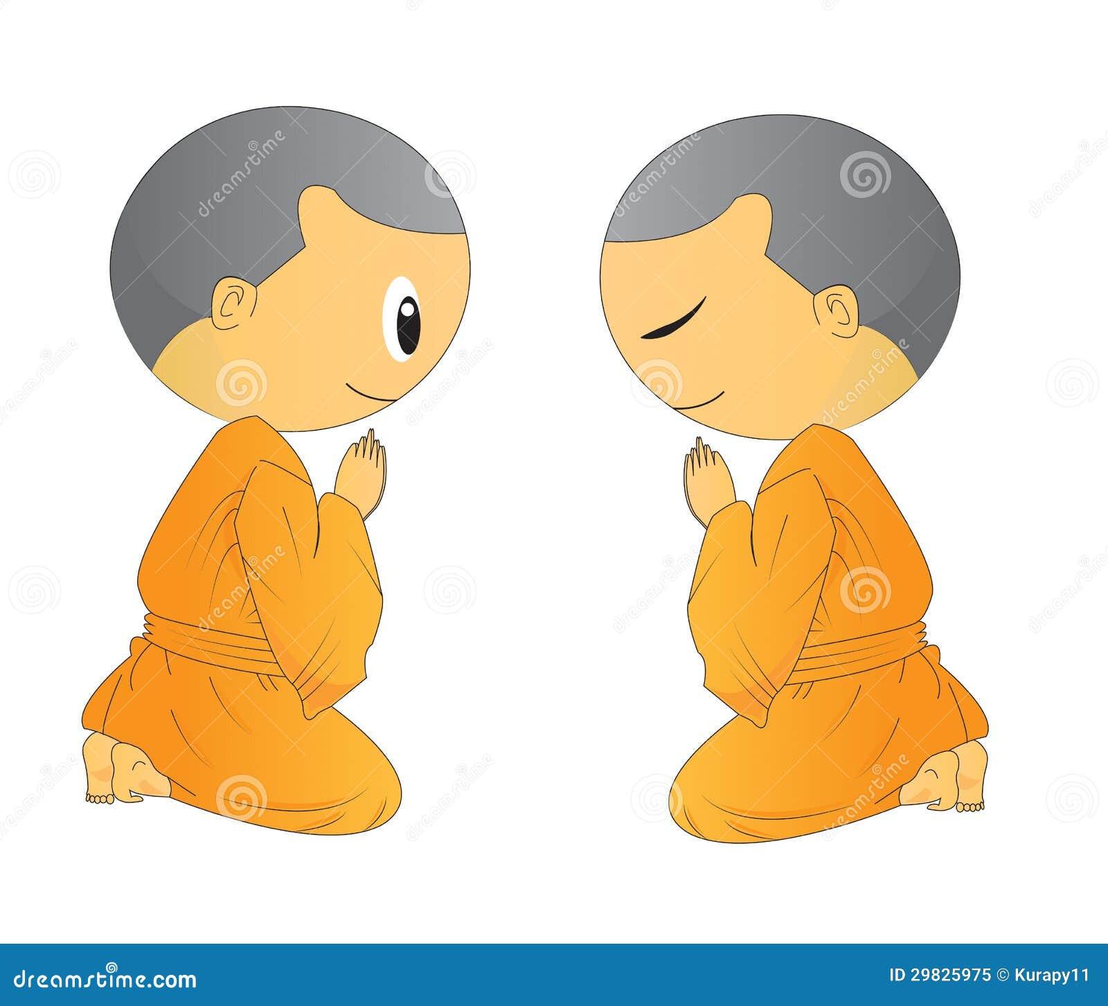 Ilustração de desenhos animados novos de pedido bonitos da monge dois