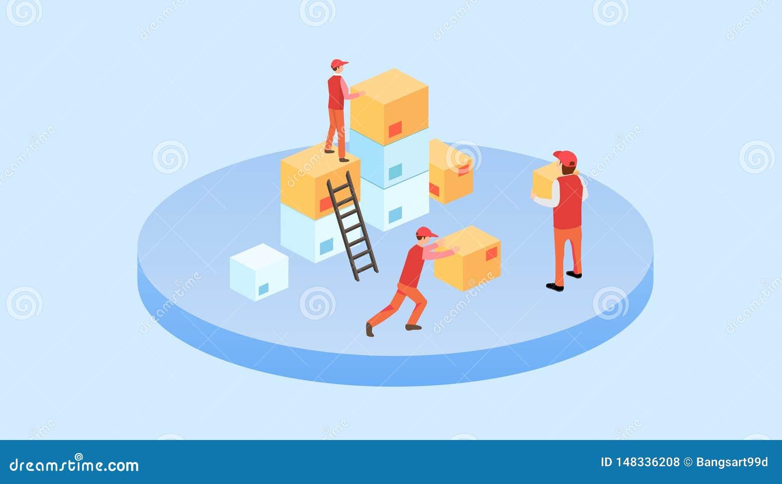 Ilustração de empacotamento do vetor do grupo de imagens da caixa da caixa isométrica