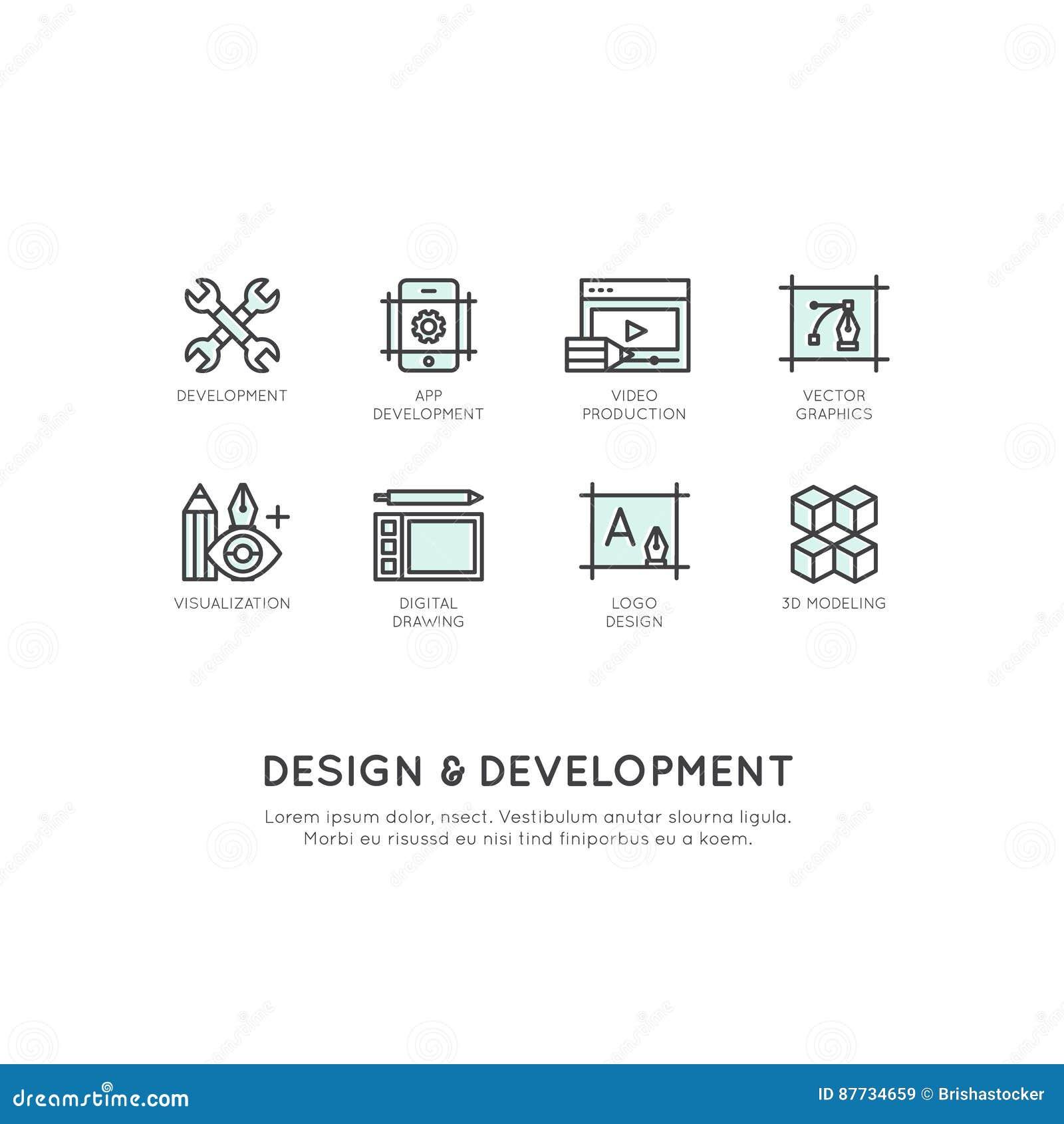 Ilustração de ferramentas do projeto e de desenvolvimento, App, Web e tornar-se do computador