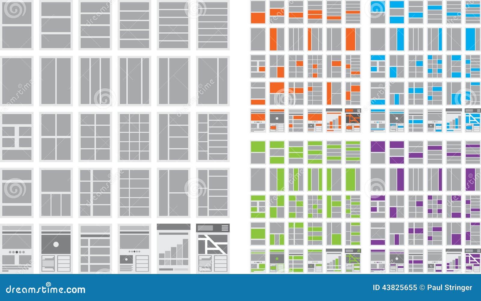 Ilustração de fluxogramas e de mapa do site do Web site