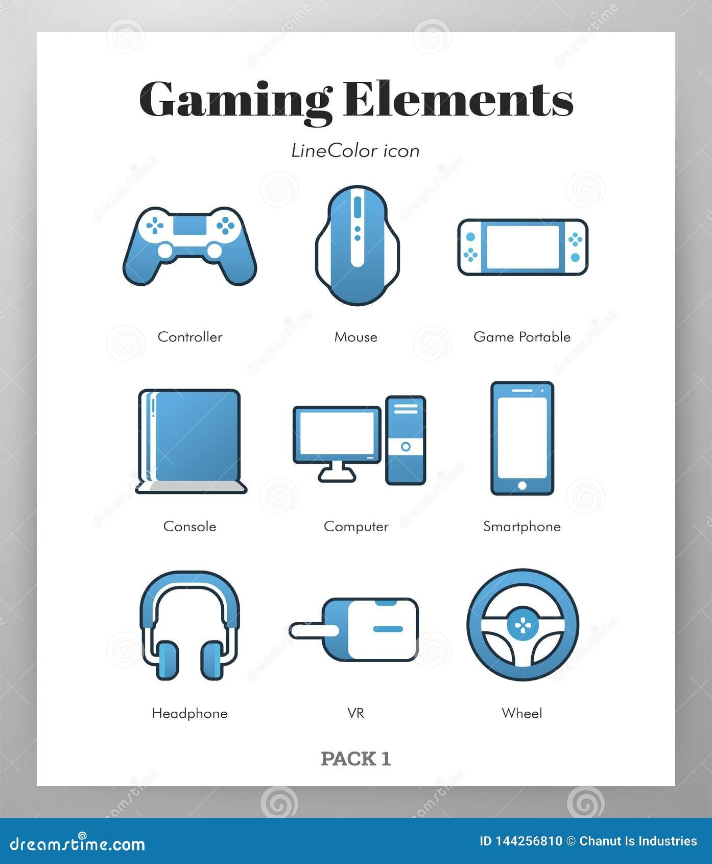 Ilustração de LineColor dos elementos do jogo