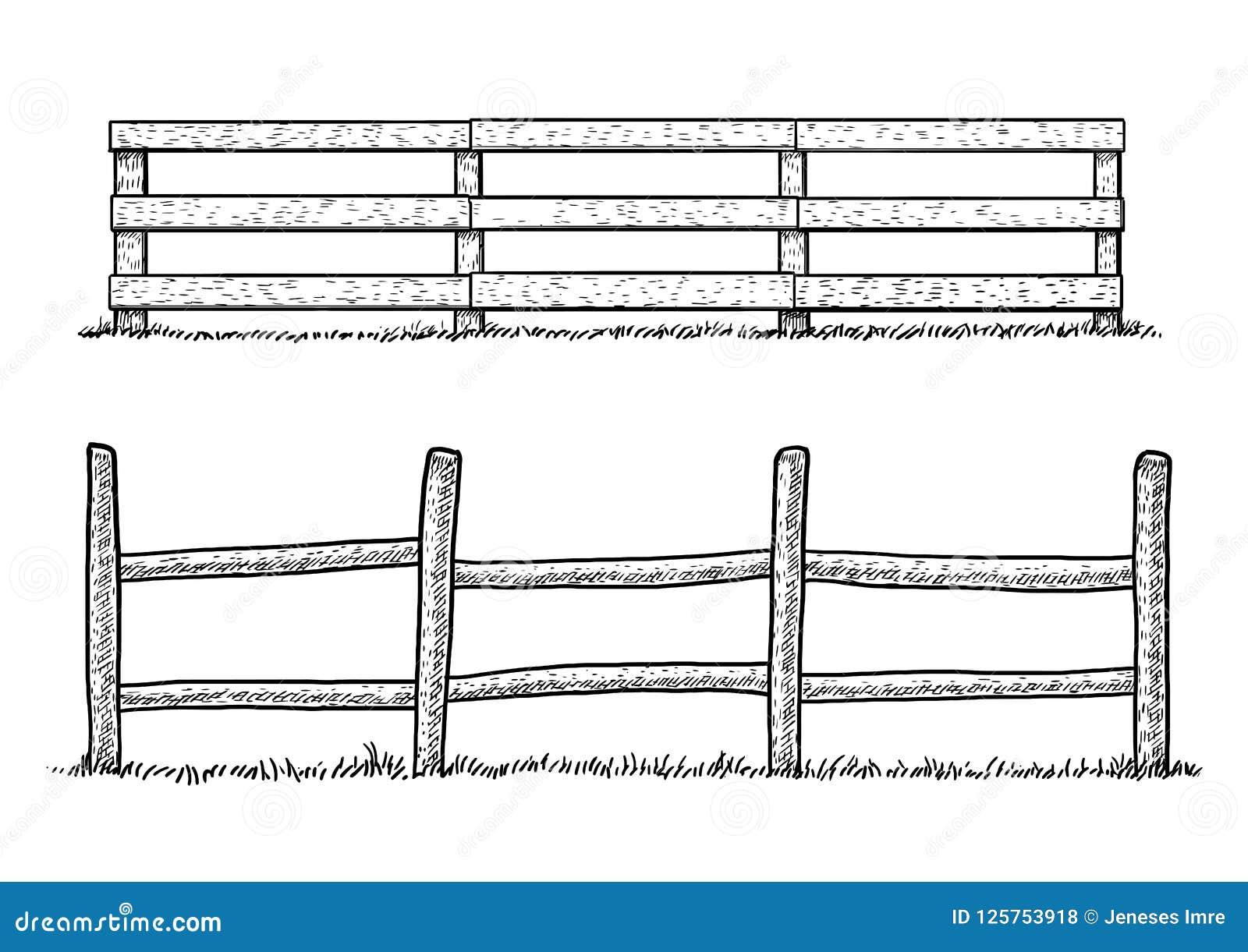 Ilustracao De Madeira Da Cerca Desenho Gravura Tinta Linha