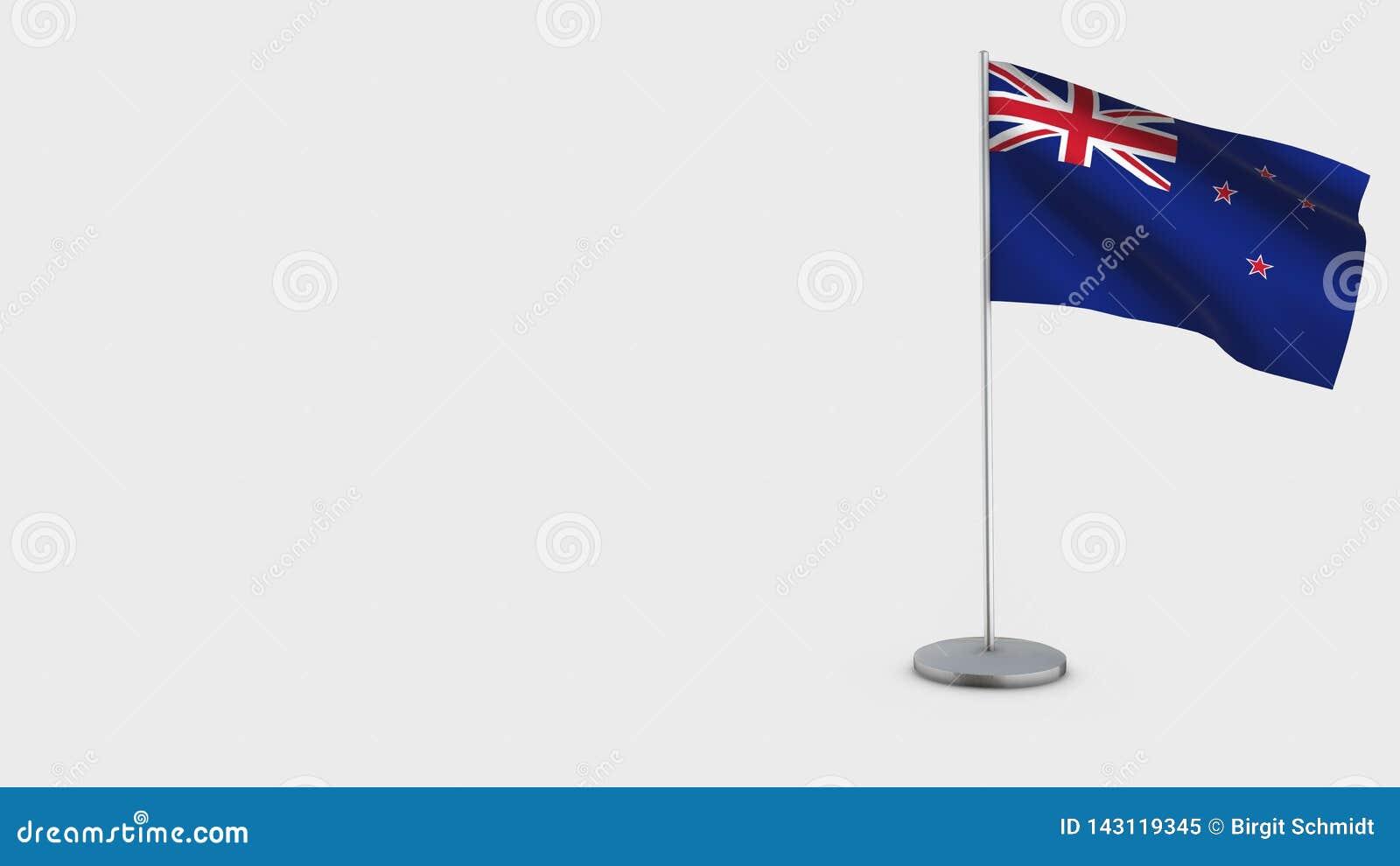 Ilustração de ondulação da bandeira de Nova Zelândia 3D