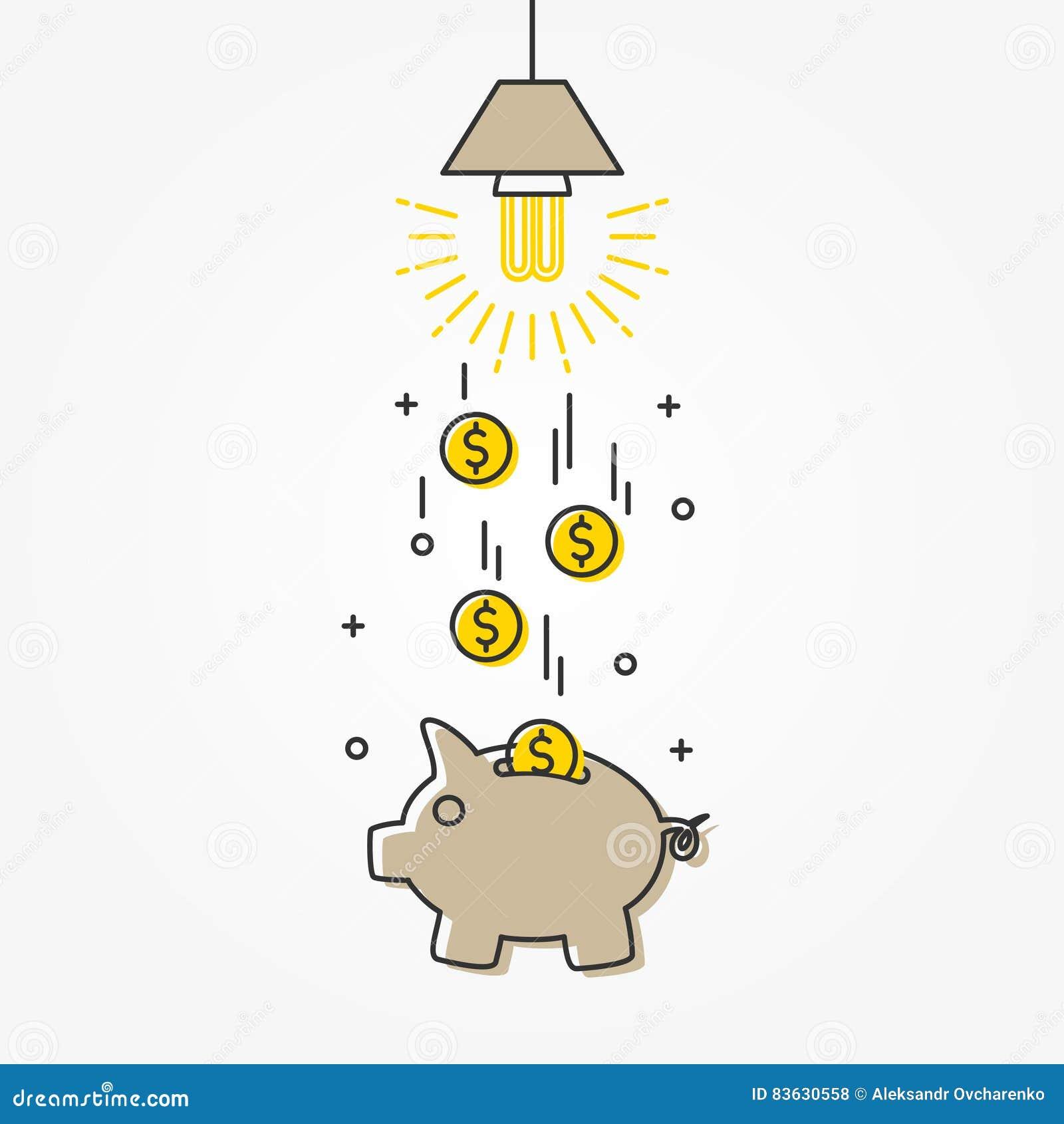 Ilustração de poupança de energia do vetor da lâmpada