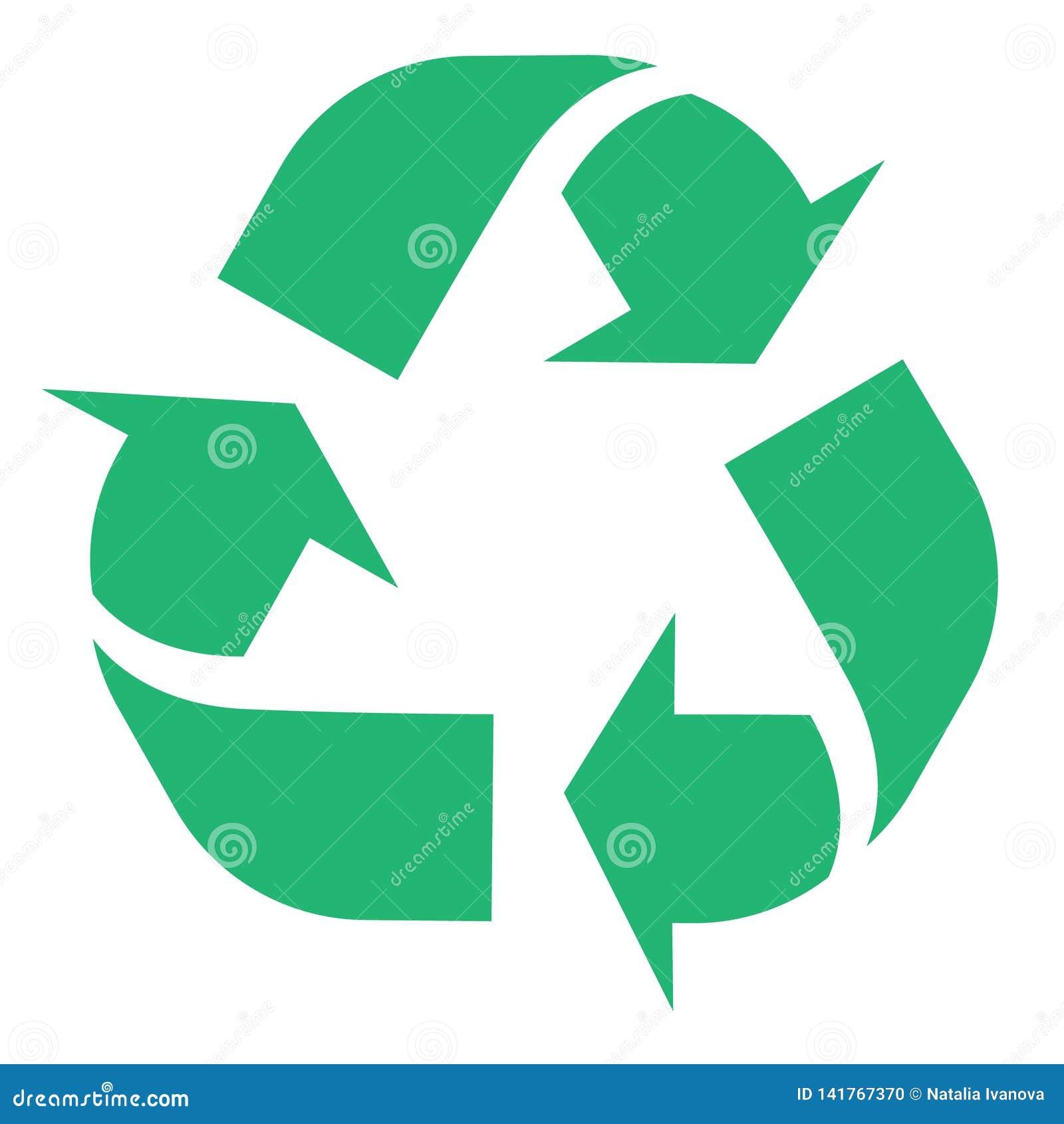 A ilustração de recicla e o símbolo zero do desperdício com as setas verdes no formulário do triângulo isolado no fundo branco ec