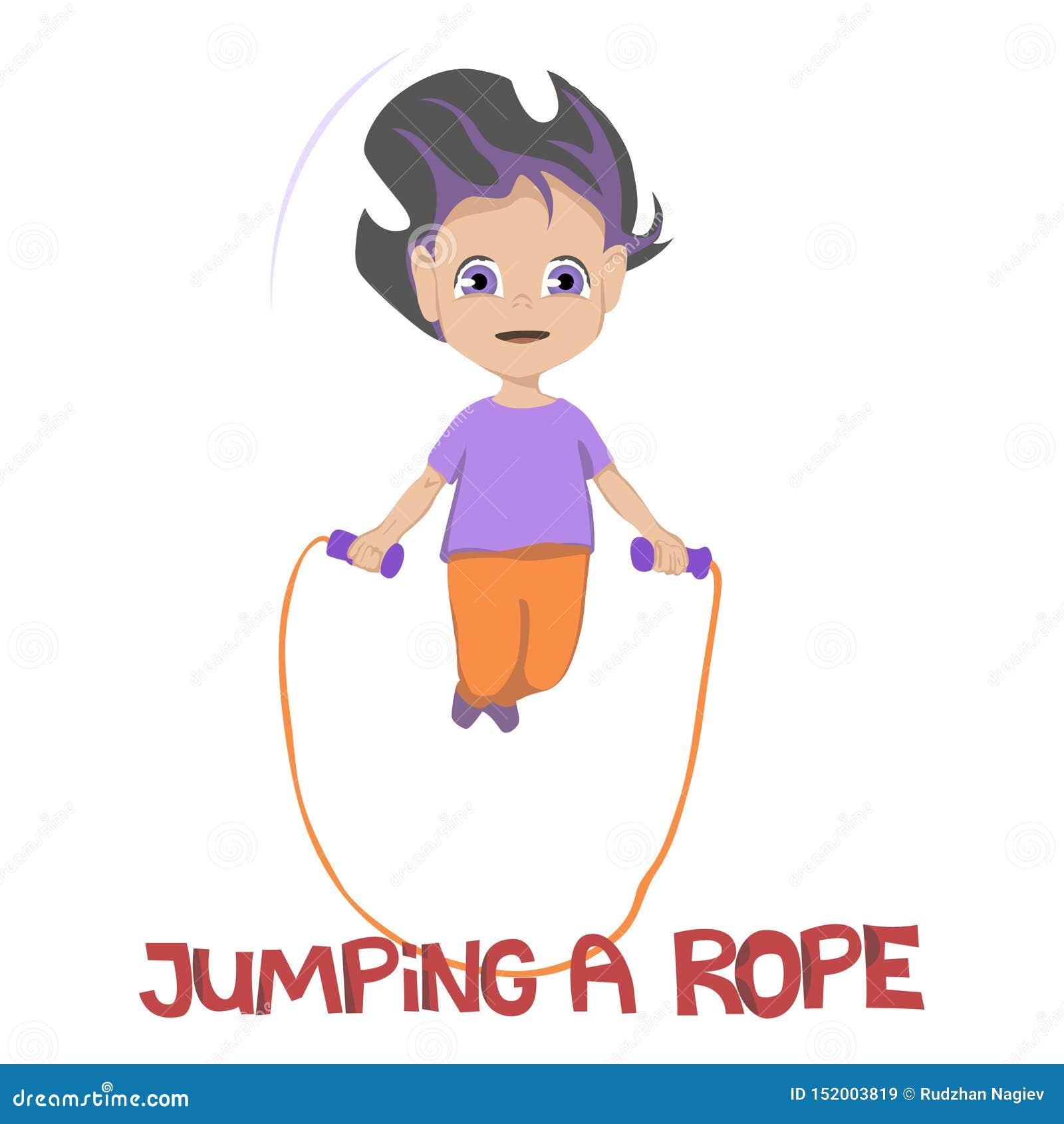 Ilustração de sorrir a moça na camisa roxa e as calças alaranjadas que saltam uma corda sobre o fundo branco, vetor