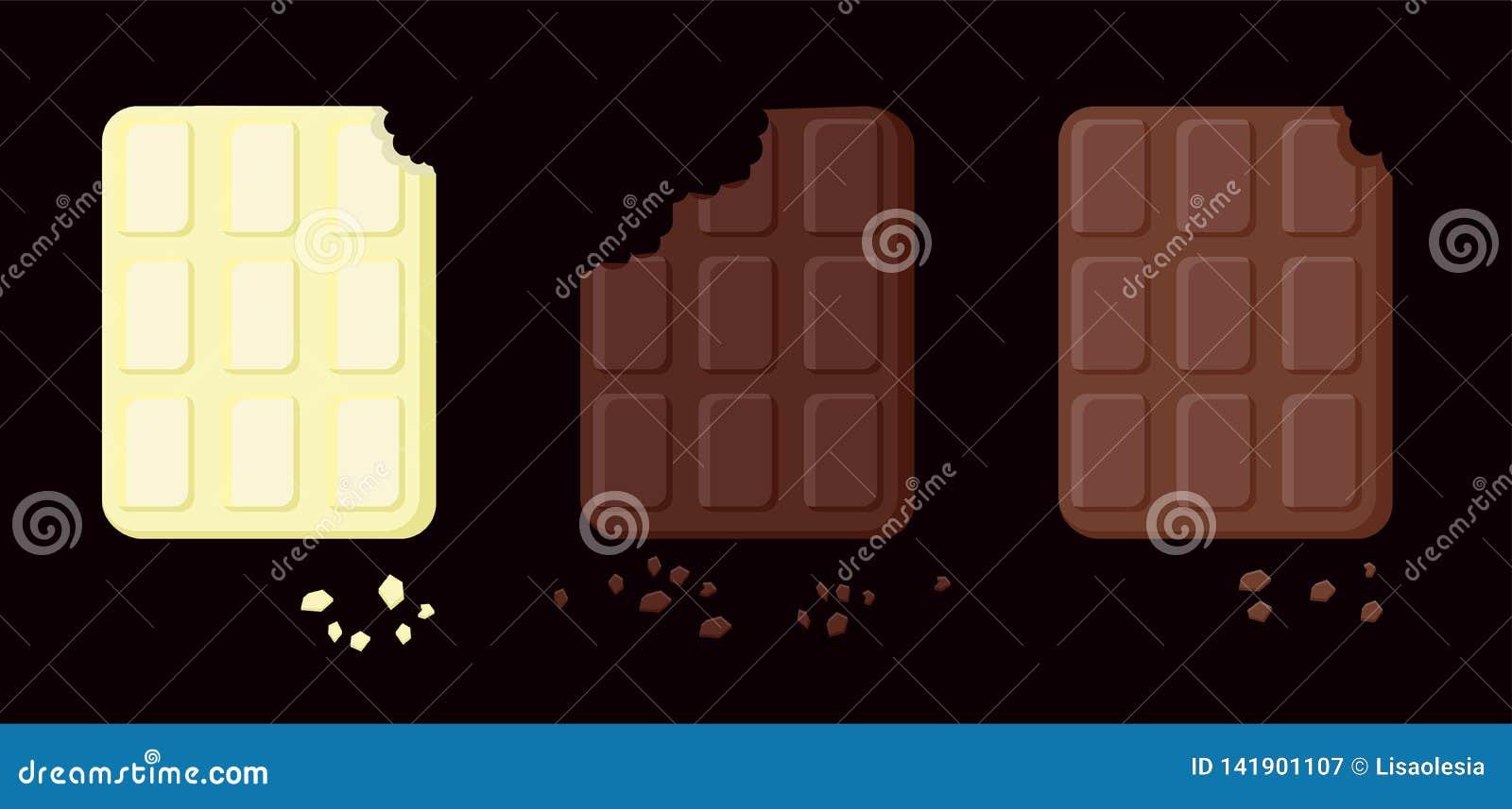 Ilustração de três variedades de chocolate mordido Objetos isolados em uma camada Alimento do vetor para cartões, aplicações