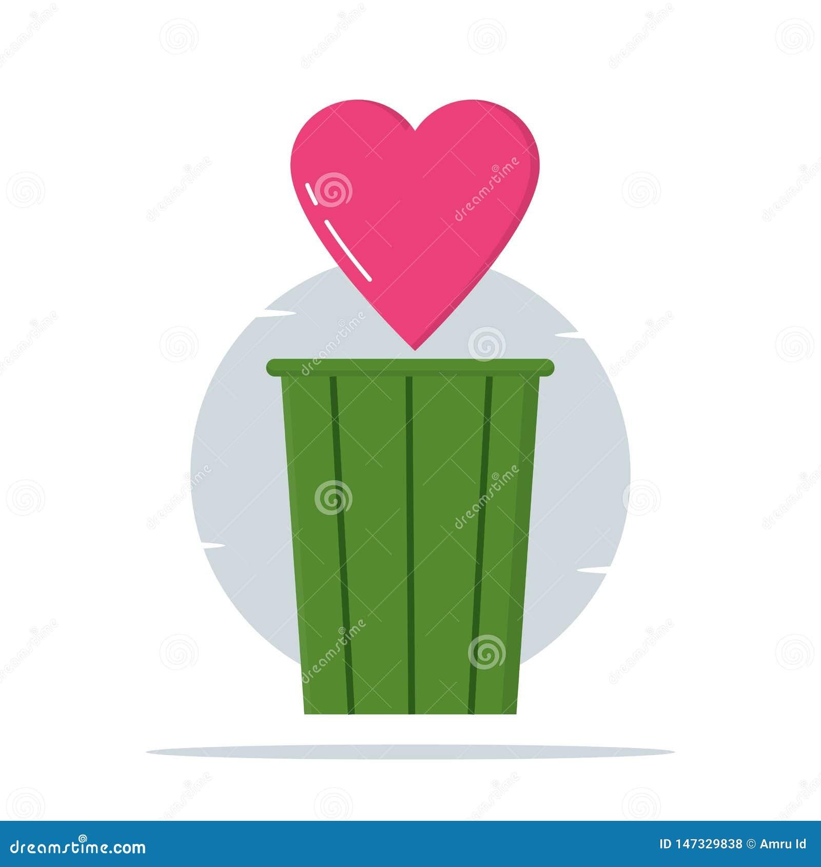 Ilustração de Trashcan, de amor e de coração - vetor