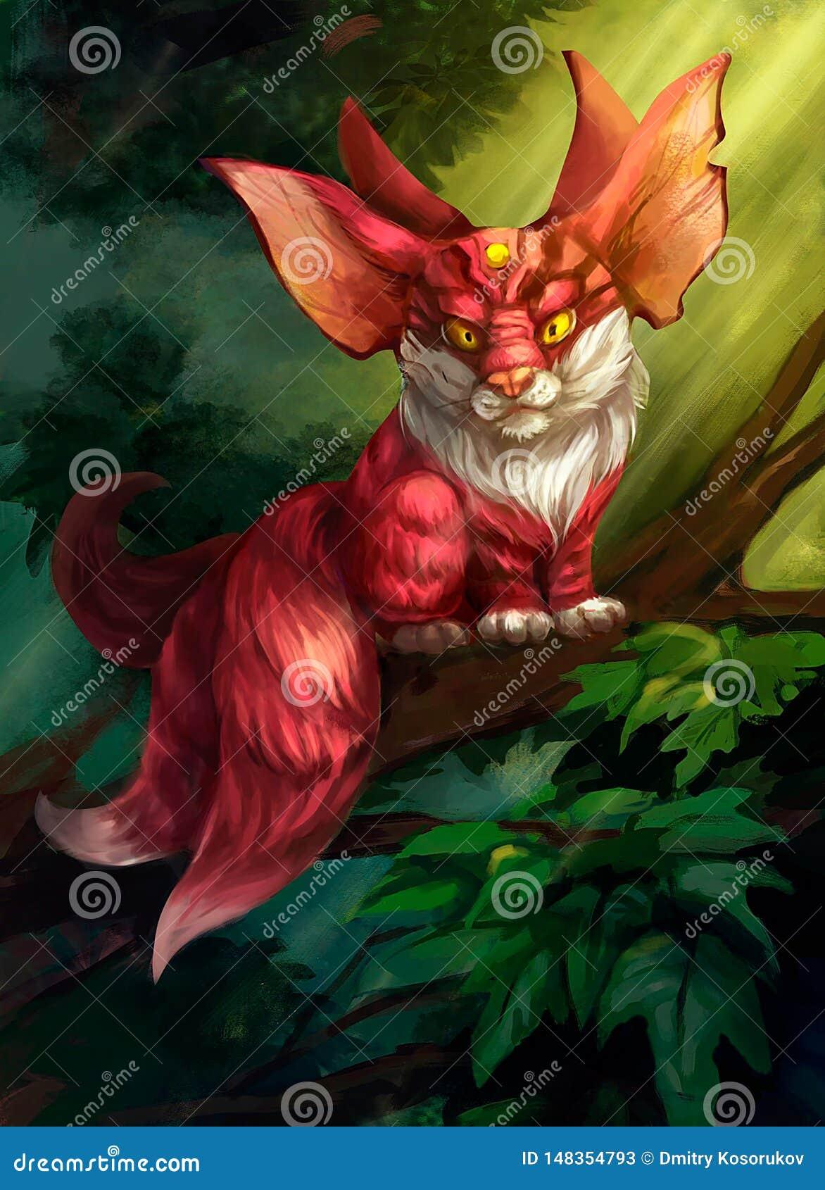 Ilustração de um animal fabuloso na floresta