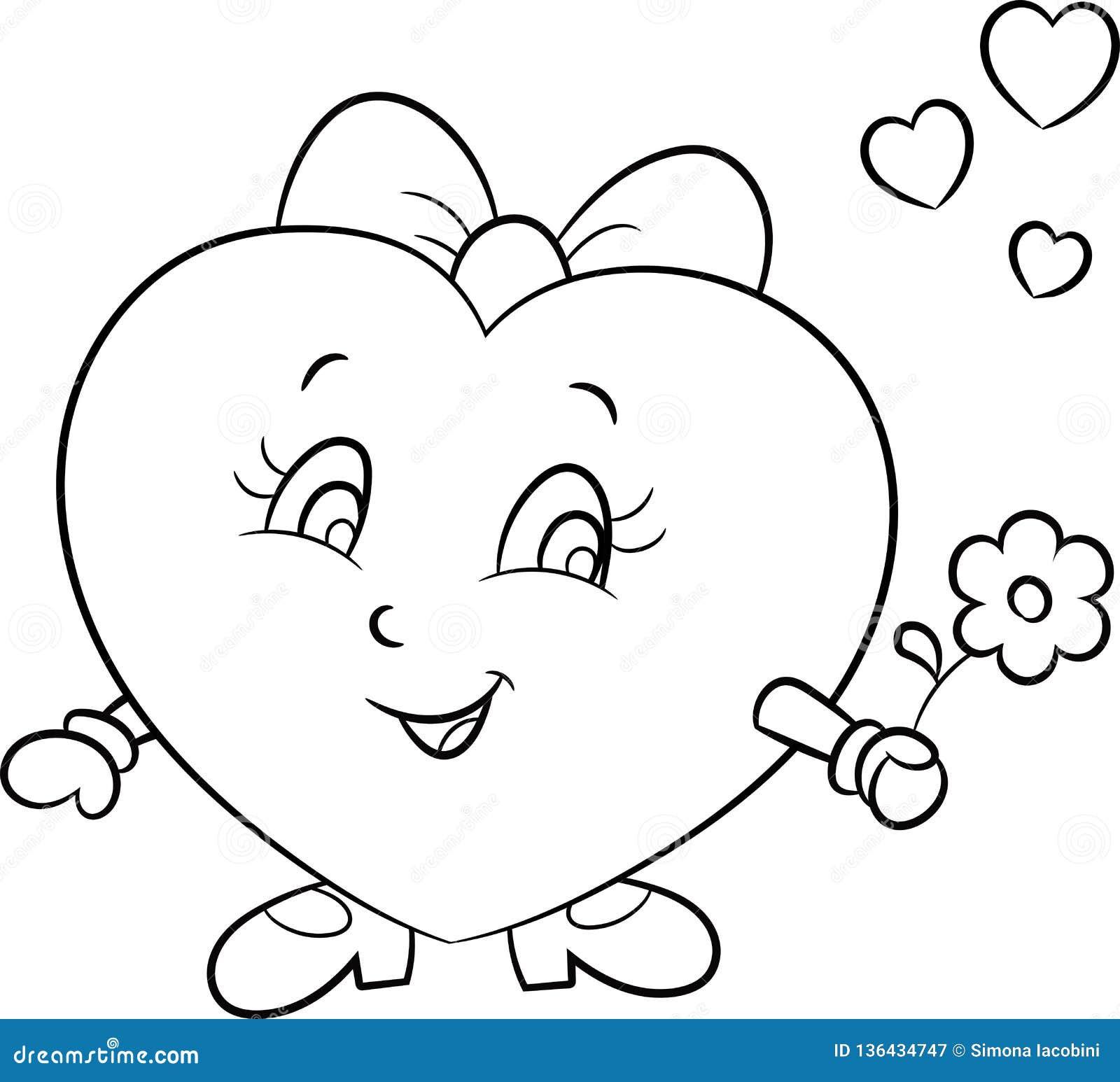 Ilustracao De Um Bonito Pouco Menina Coracao Emoji Do Amor Em