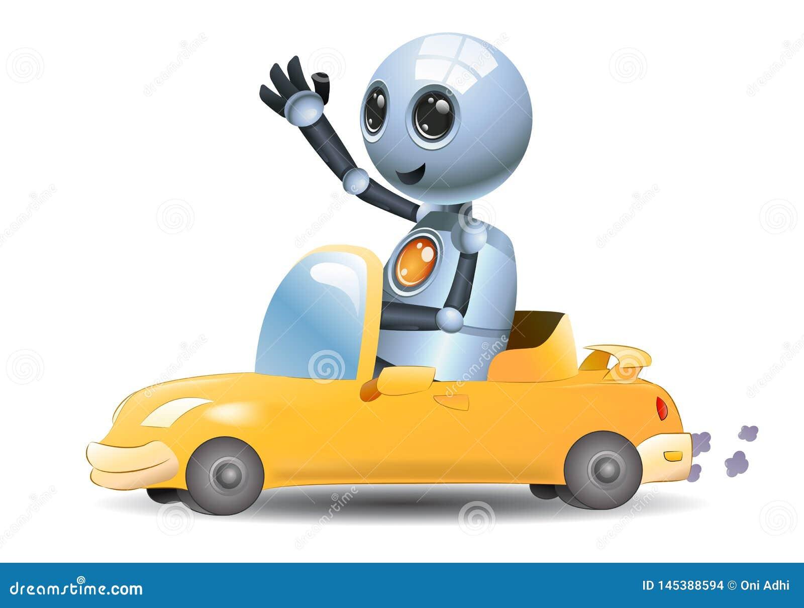 Ilustra??o de um carro pequeno da equita??o do rob? do rob? pequeno