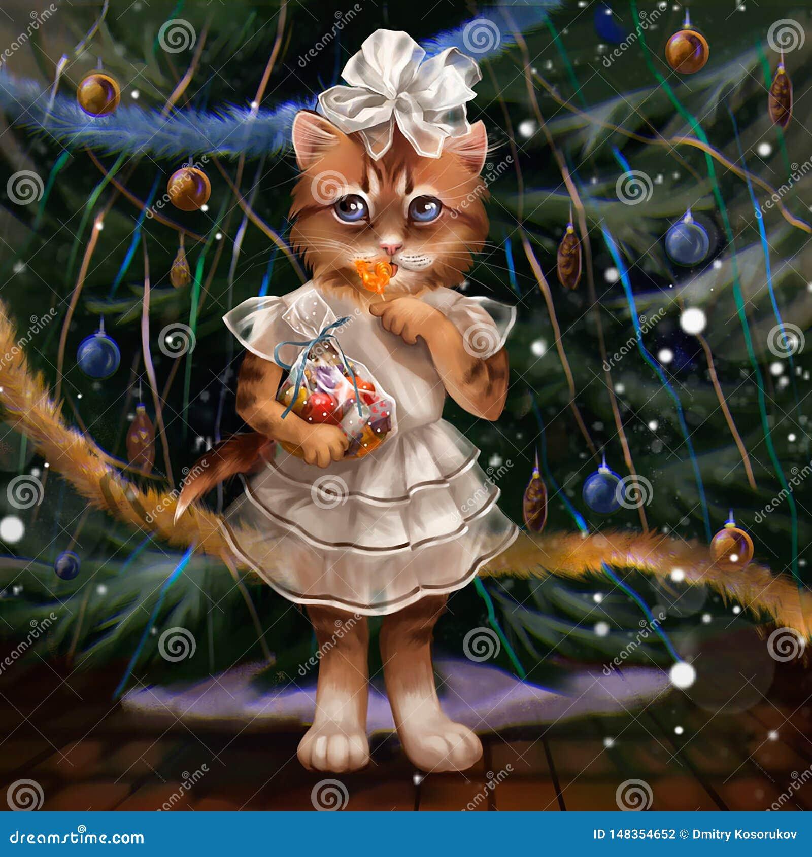 Ilustração de um gato na árvore de Natal