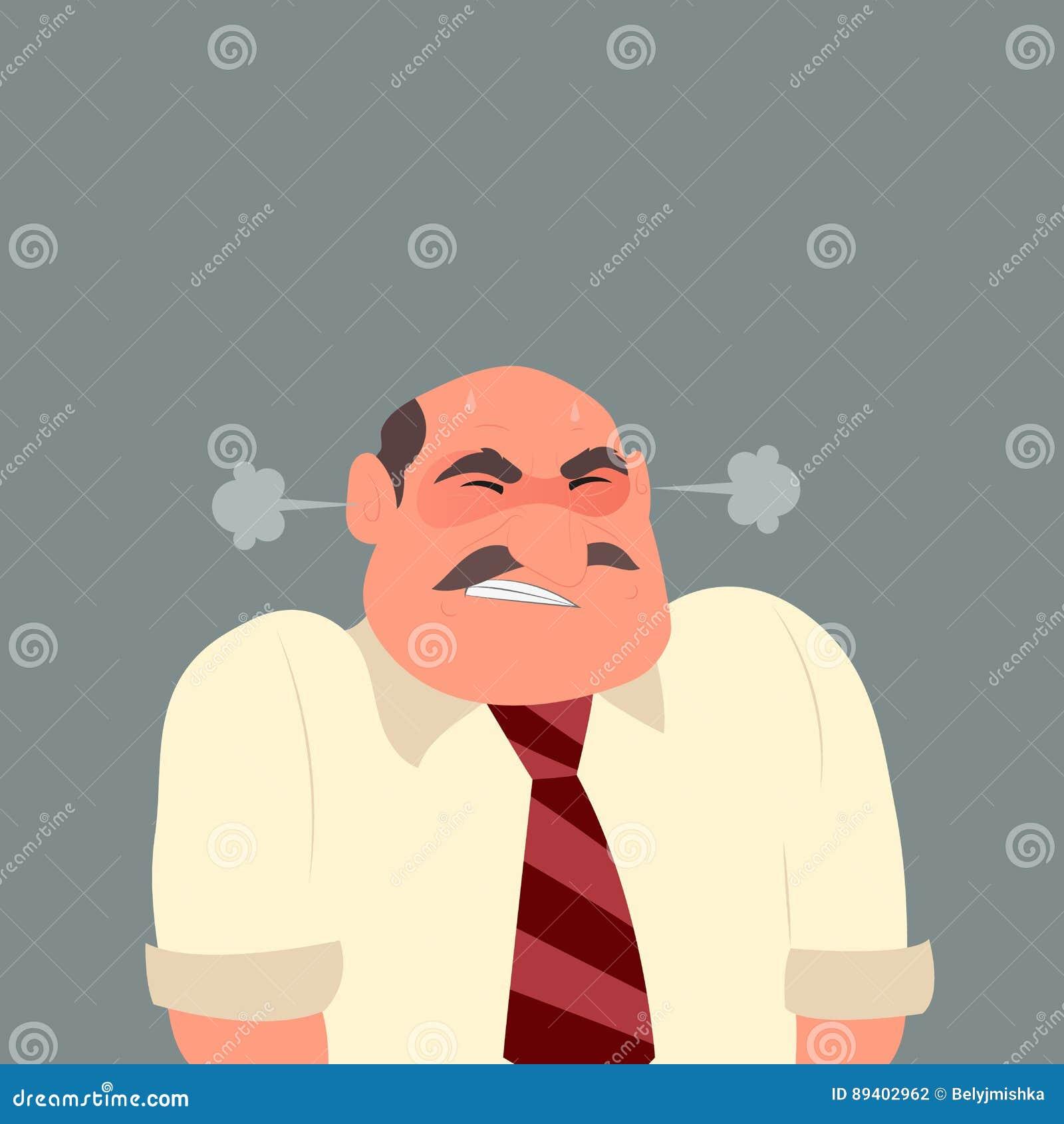 Ilustração de um homem de negócio irritado