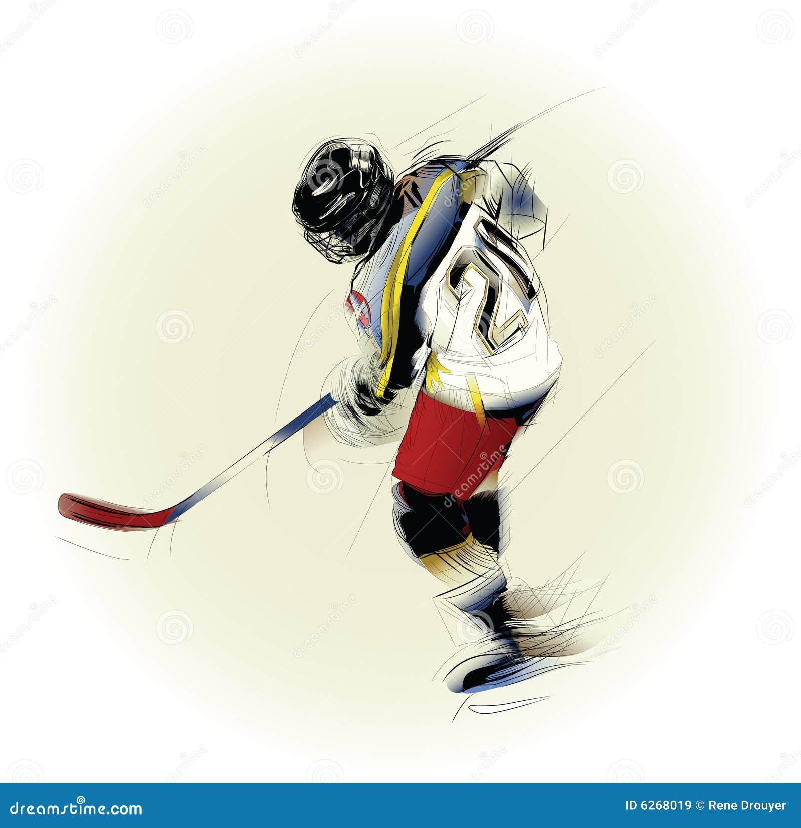 Ilustração de um jogador do hickey do gelo