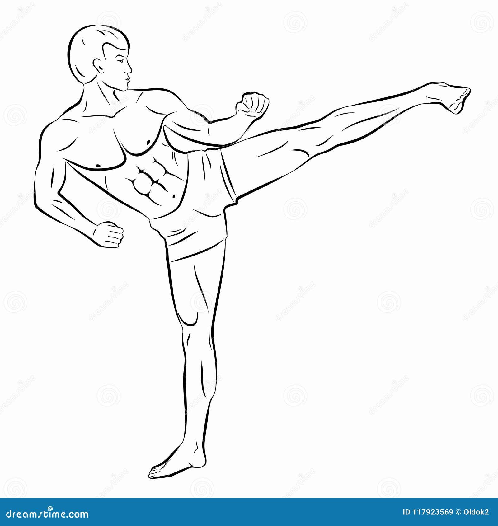 Ilustracao De Um Kickboxer Tracao Do Vetor Ilustracao Do Vetor