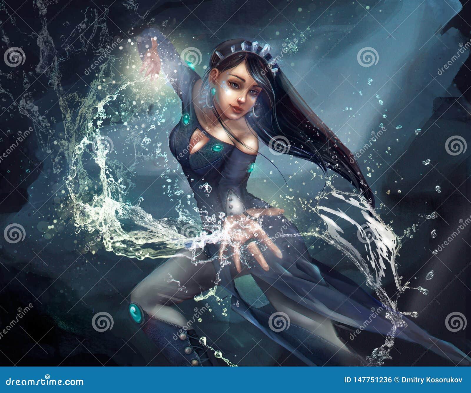 Ilustração de um mágico da menina que executa um período