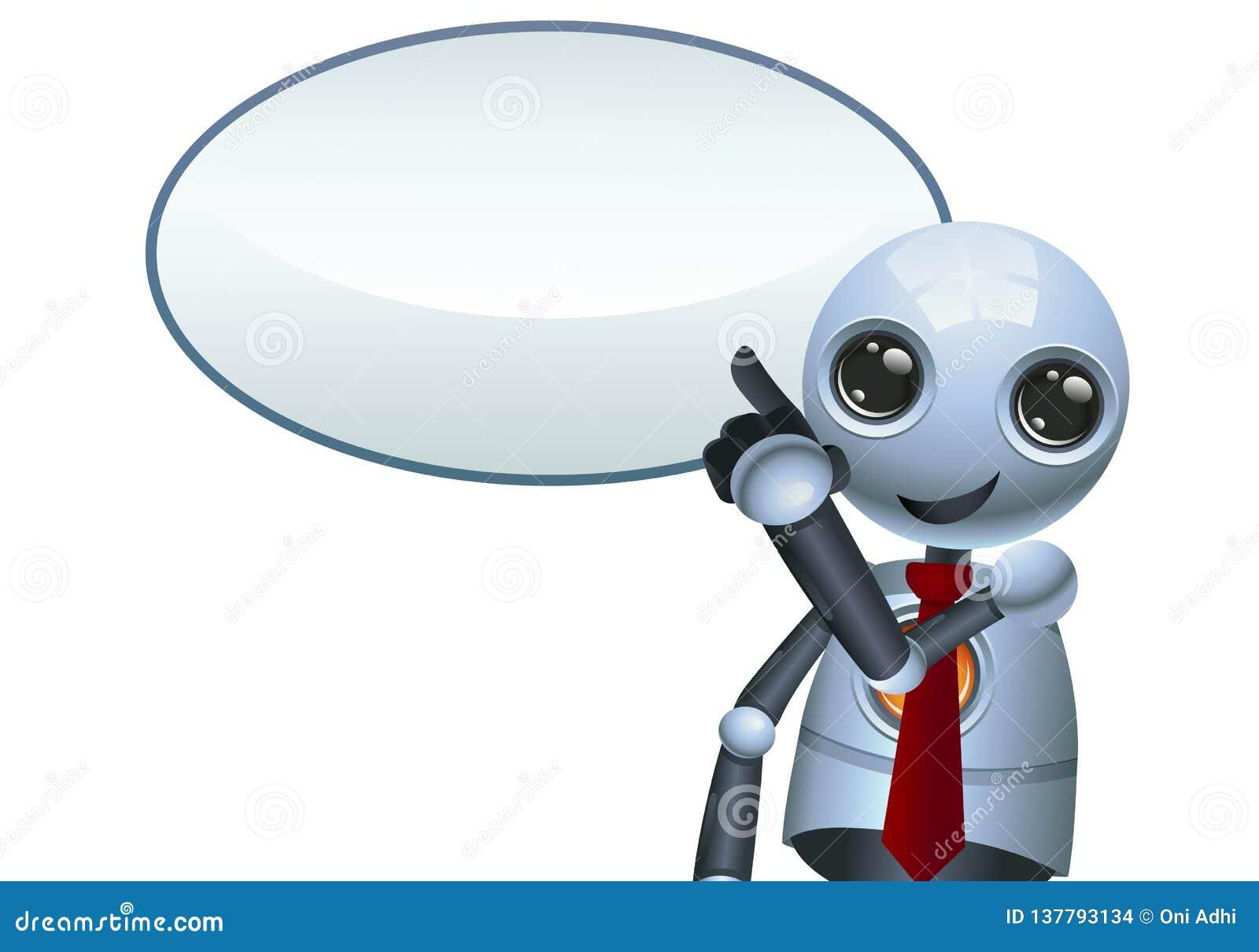 Ilustração de um robô pequeno feliz que aponta o dedo