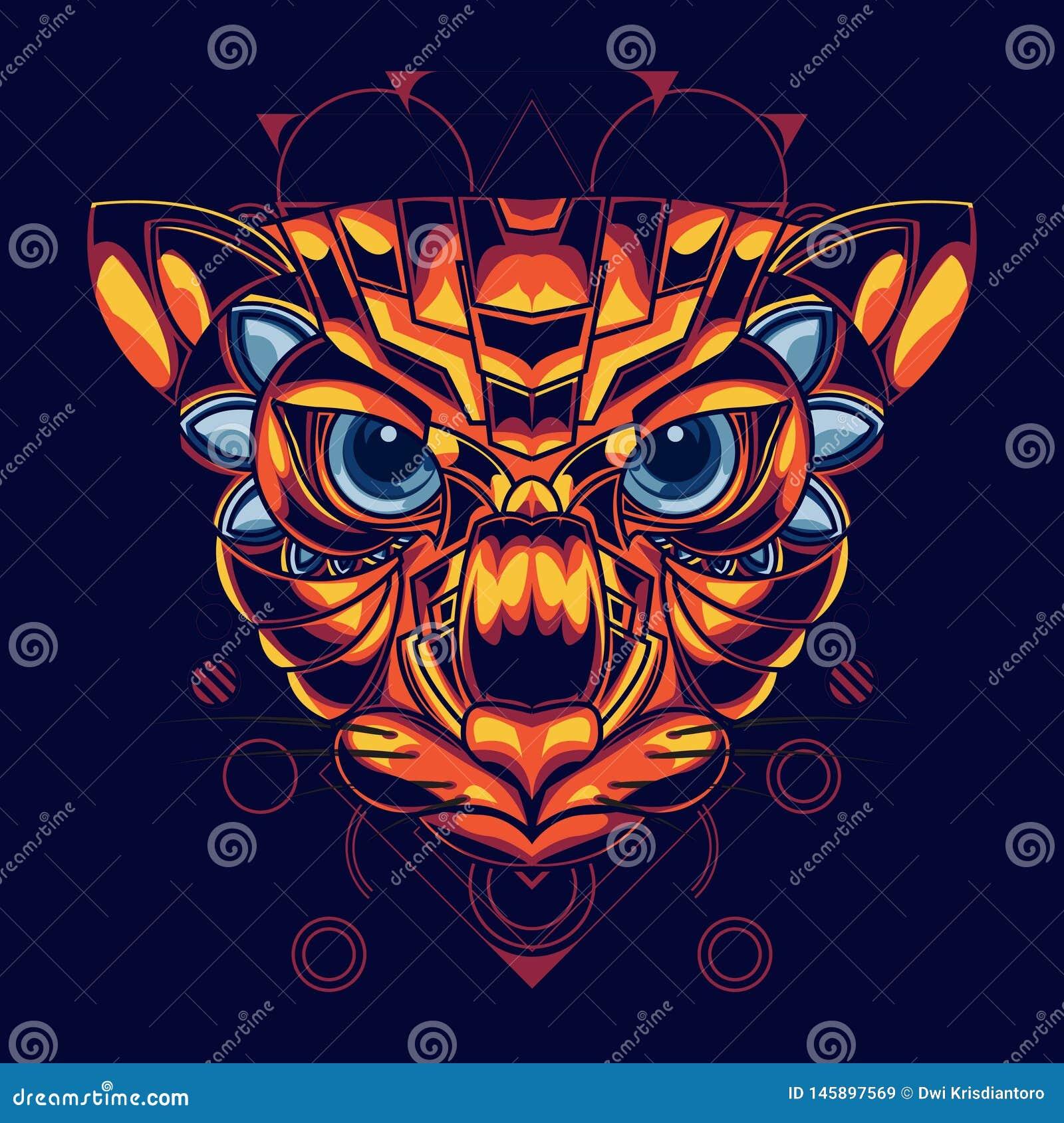 Ilustração de uma cabeça do gato com combinação do ouro e de cor vermelha e um estilo decorativo atrativo e original