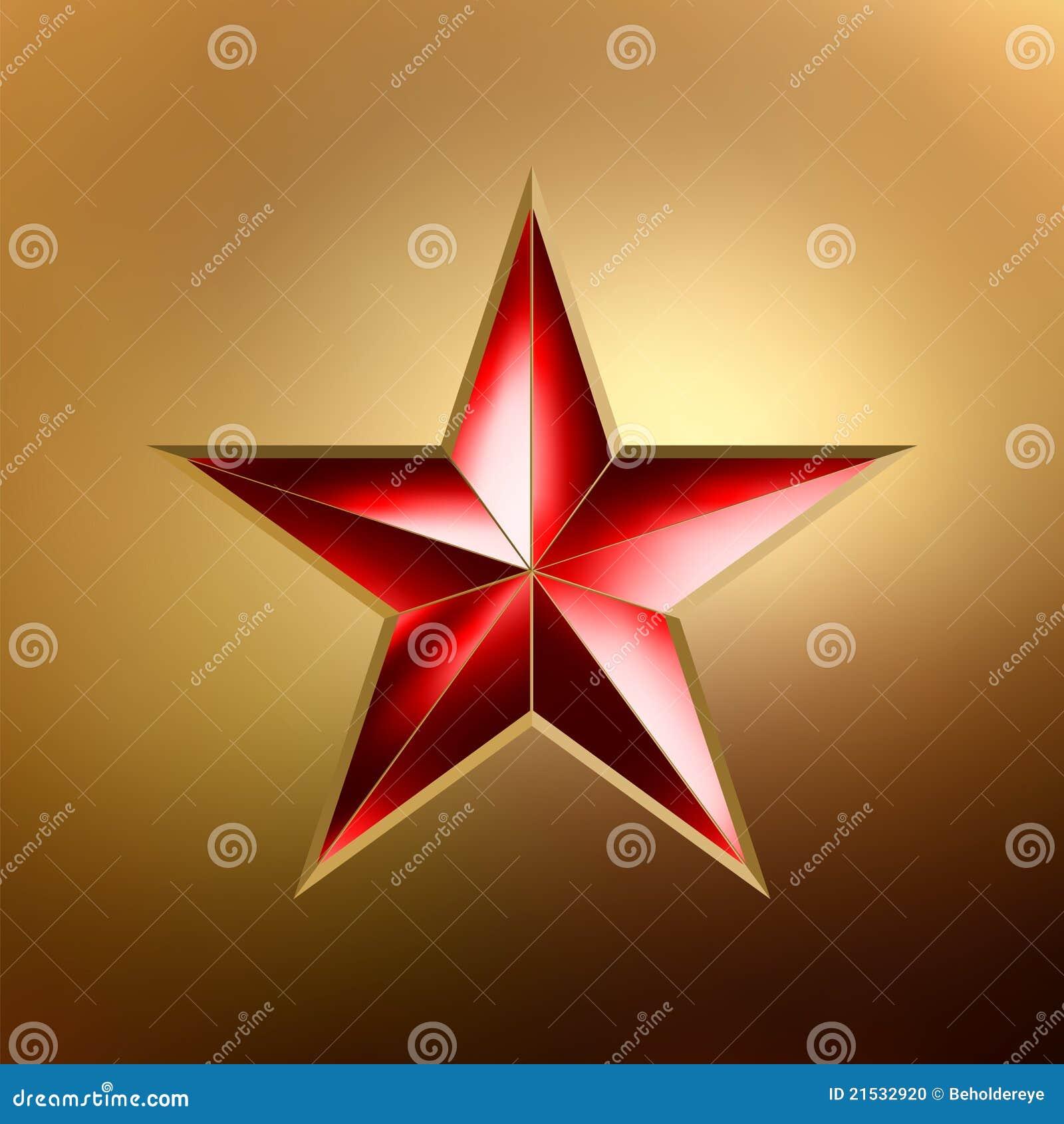 Ilustração de uma estrela vermelha no ouro. EPS 8