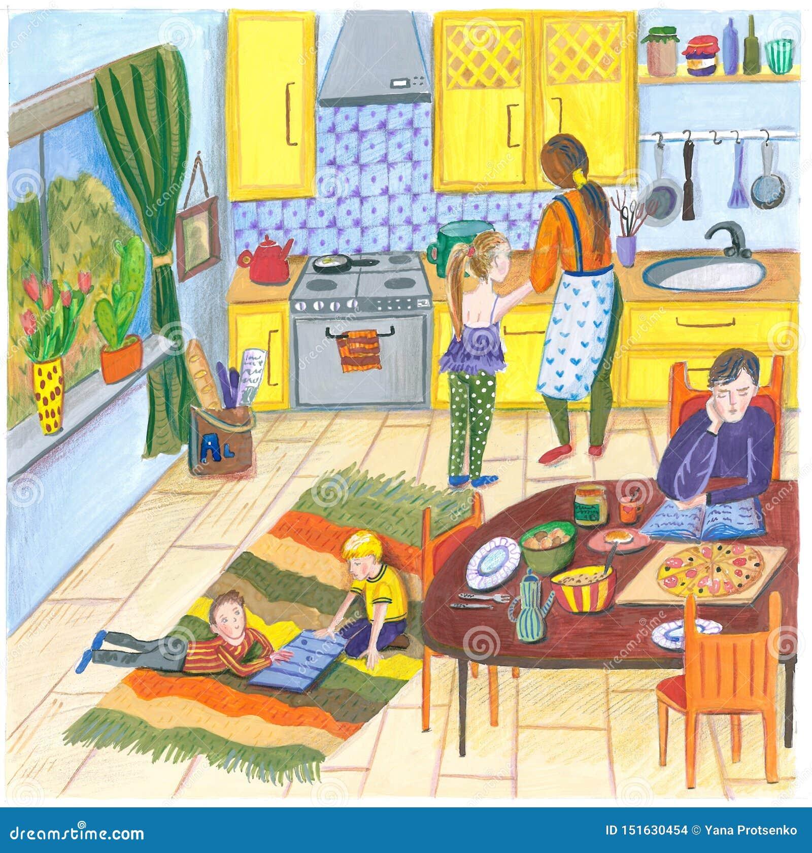 Ilustração de uma família feliz em casa na cozinha para o almoço, o jantar ou o café da manhã, a mãe, o pai, a criança e o cão na