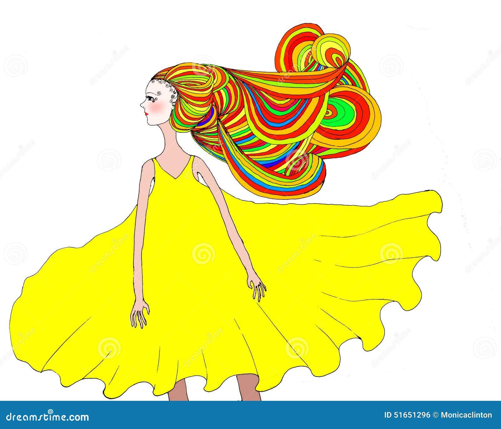 Ilustração de uma menina com cabelo dramático