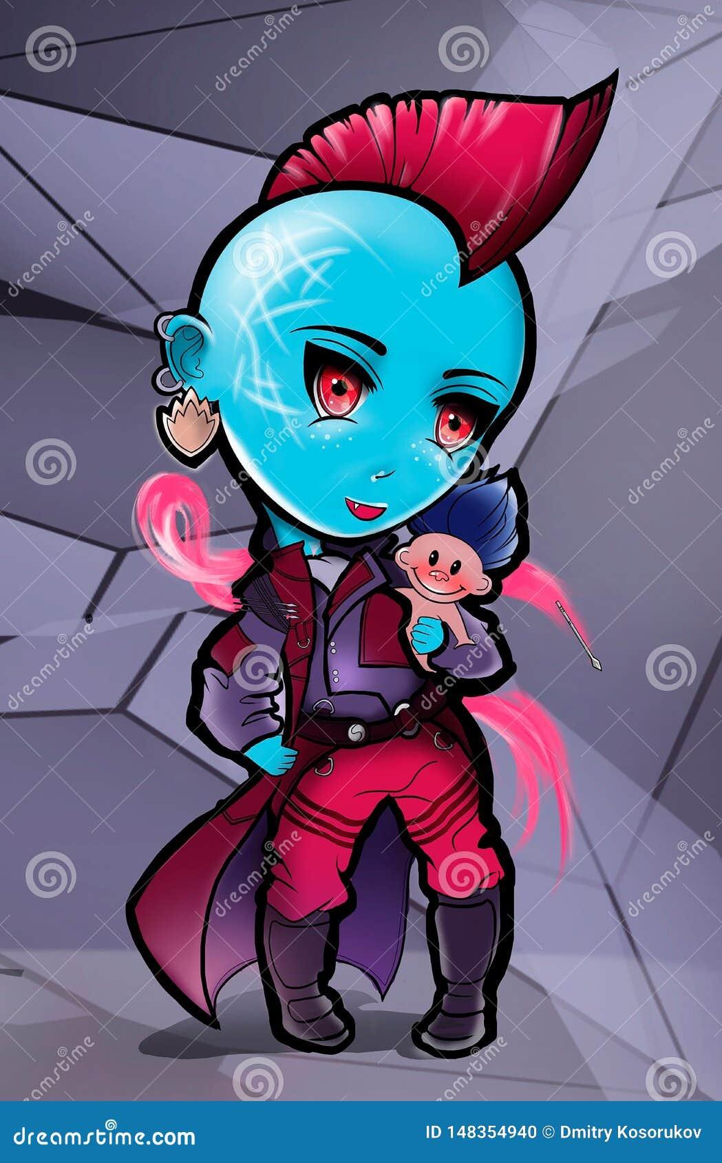 Ilustração de uma menina do super-herói em uma capa de chuva