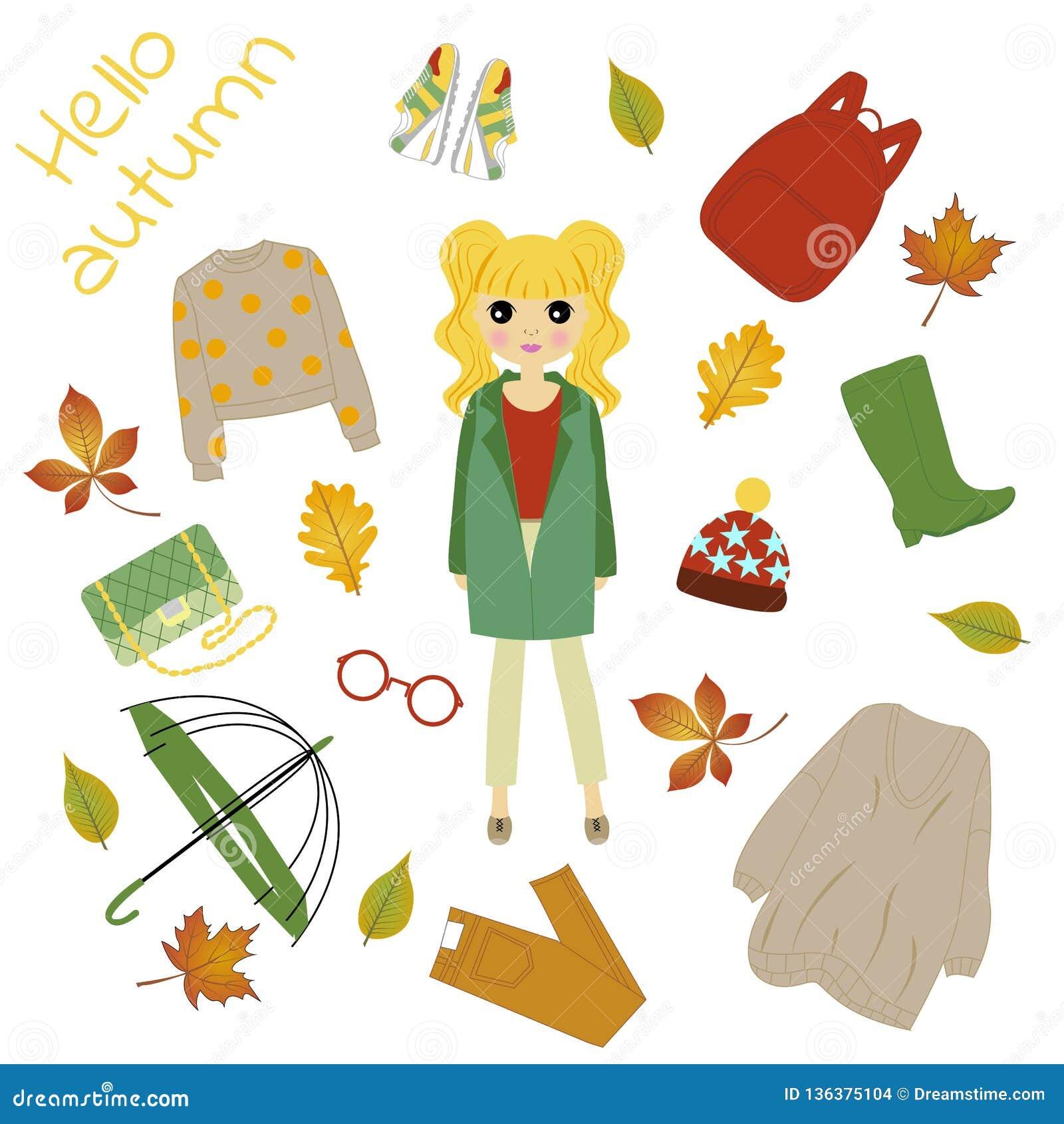 Ilustração de uma menina na roupa do outono