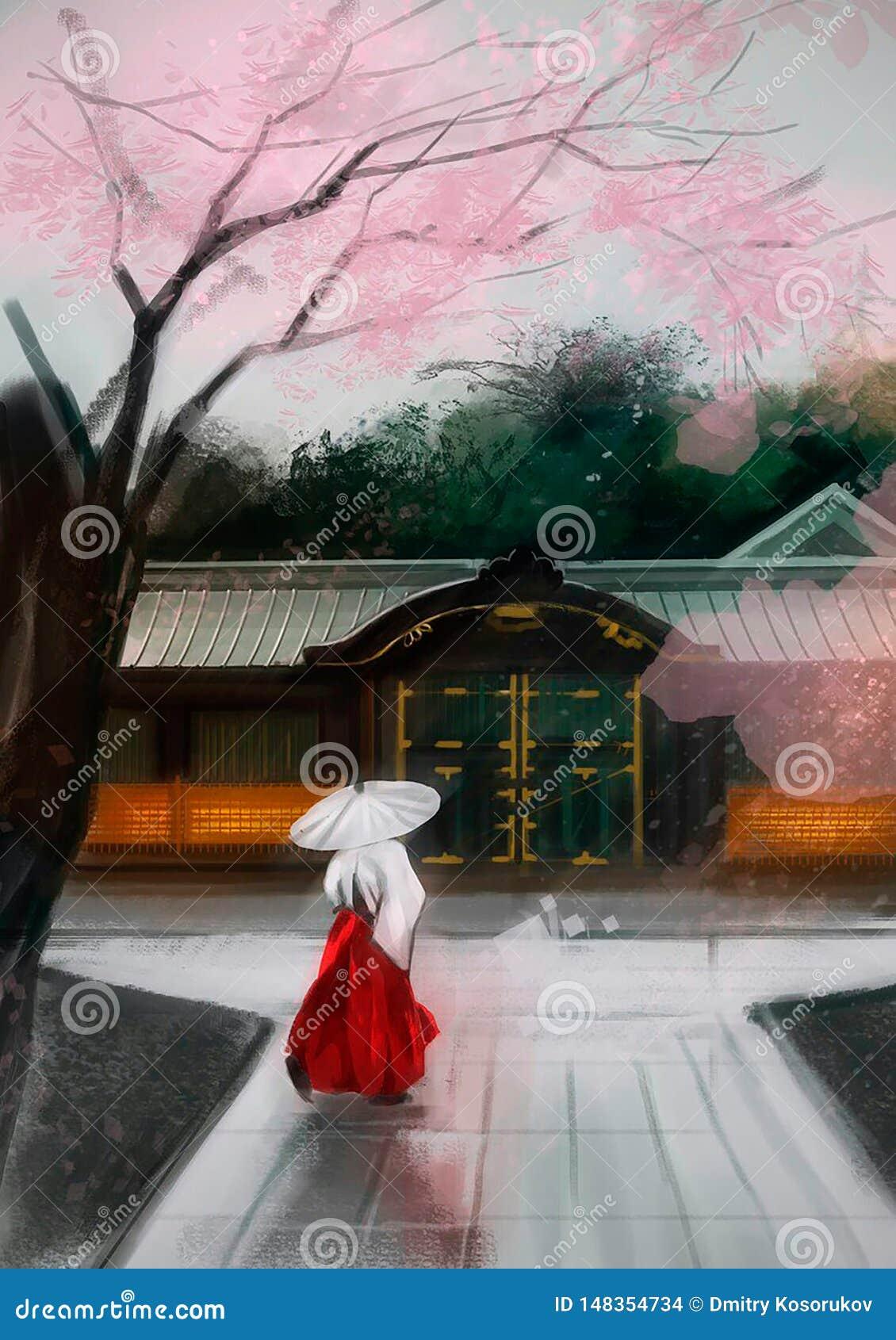 Ilustração de uma mulher chinesa perto da casa