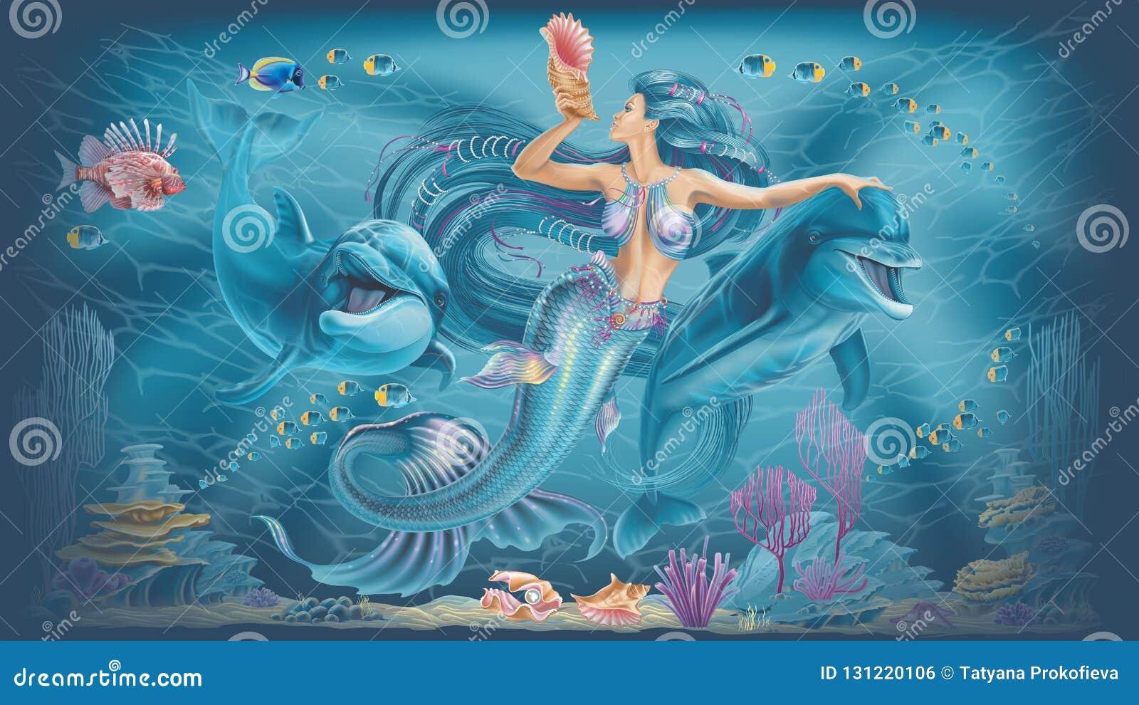 Ilustração de uma sereia e de golfinhos