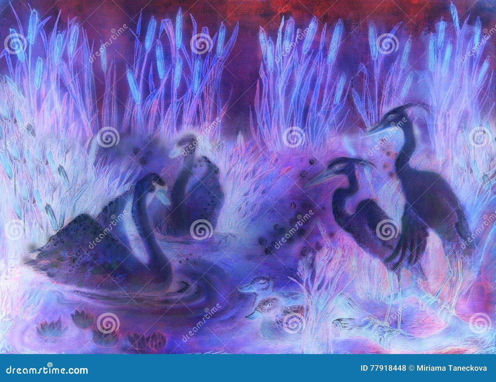 Ilustração decorativa em tons da violeta e do lila dos pássaros que nadam na lagoa com juncos
